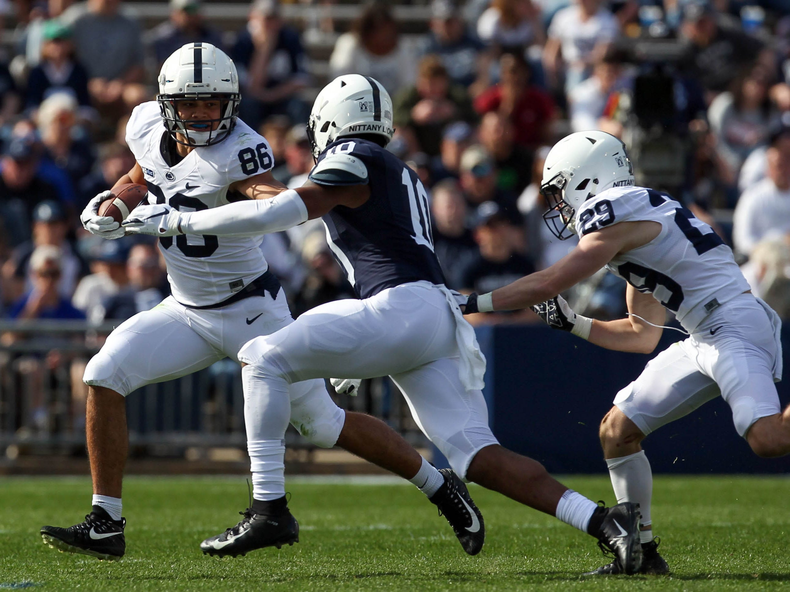 Apr 13, 2019; University Park, PA, USA; Penn State Nittany Lions tight end Brenton Strange (86) runs with the ball during the third quarter of the Blue White spring game at Beaver Stadium. The Blue team defeated the White team 24-7. Mandatory Credit: Matthew O'Haren-USA TODAY Sports