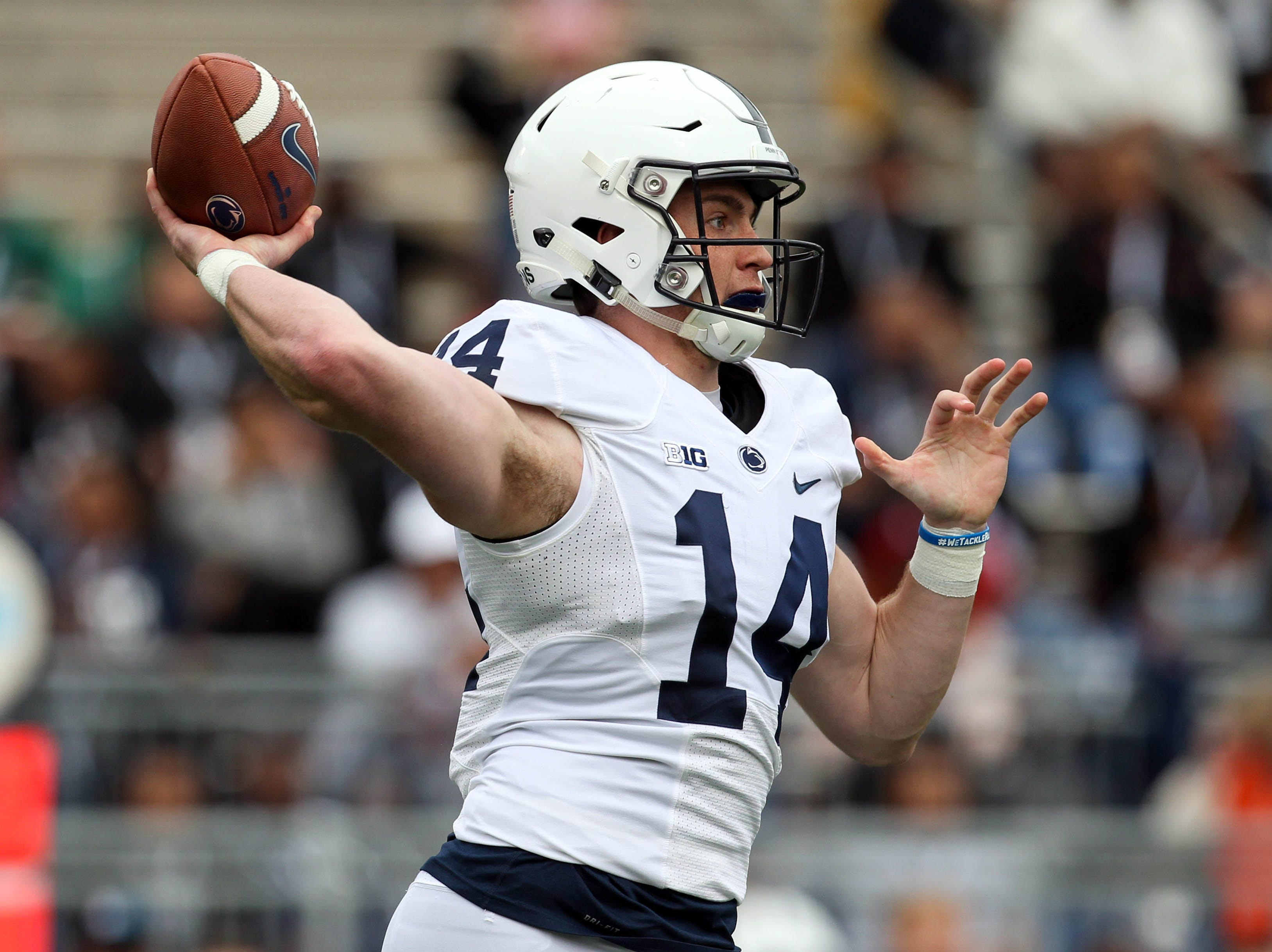 Apr 13, 2019; University Park, PA, USA; Penn State Nittany Lions quarterback Sean Clifford (14) throws a pass during the first quarter of the Blue White spring game at Beaver Stadium. The Blue team defeated the White team 24-7. Mandatory Credit: Matthew O'Haren-USA TODAY Sports