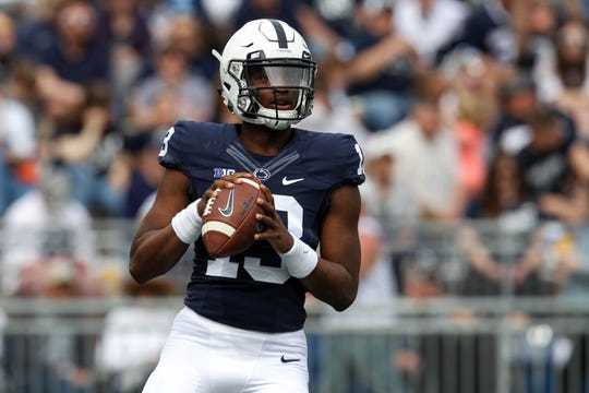 Apr 13, 2019; University Park, PA, USA; Penn State Nittany Lions quarterback Michael Johnson Jr (13) drops back in the pocket during the second quarter of the Blue White spring game at Beaver Stadium. The Blue team defeated the White team 24-7. Mandatory Credit: Matthew O'Haren-USA TODAY Sports
