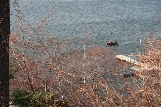 A West Webster Fire Department raft on scene for a reported missing boater on Irondequoit Bay on April 13, 2019.