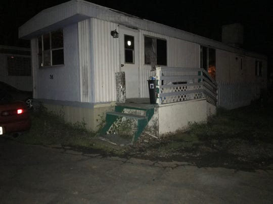 A fire at a mobile home left four people burned Saturday night in the Oakwood Mobile Home Park in north Redding.