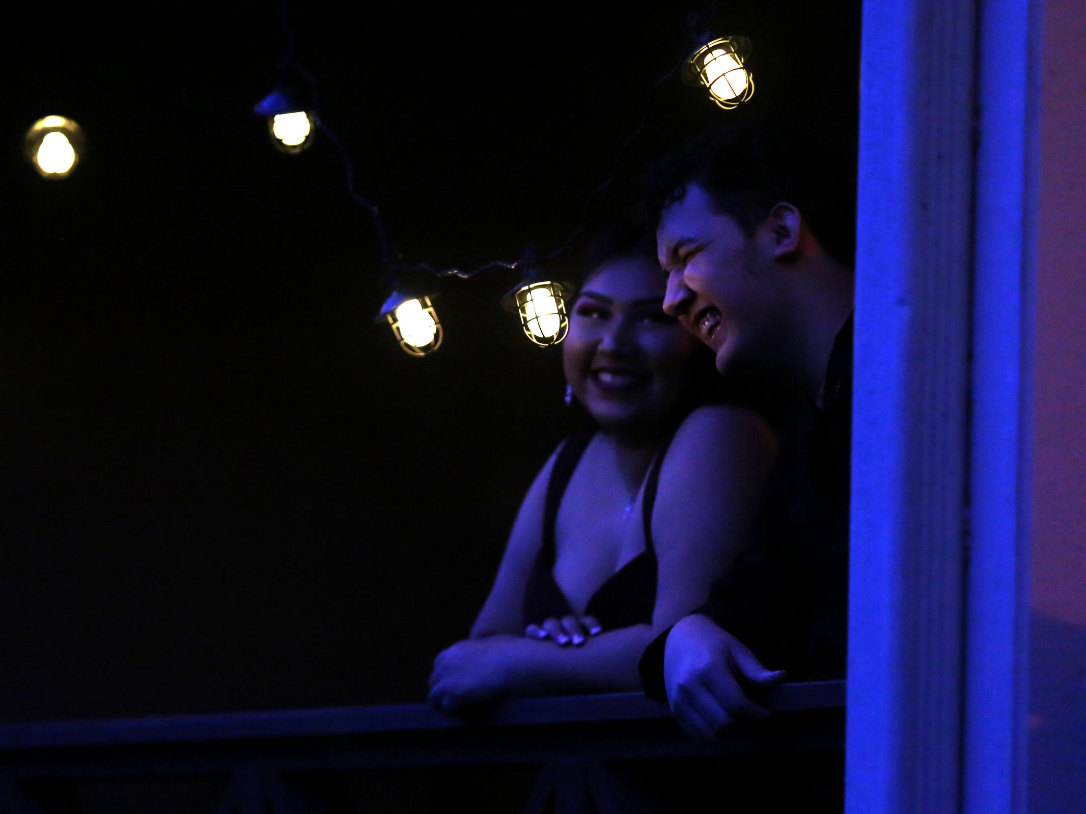 Cinnamon Lopez and Orion Gomez, both juniors, talk outside during the South Salem High School prom at Zenith Vineyard in West Salem on April 13, 2019.