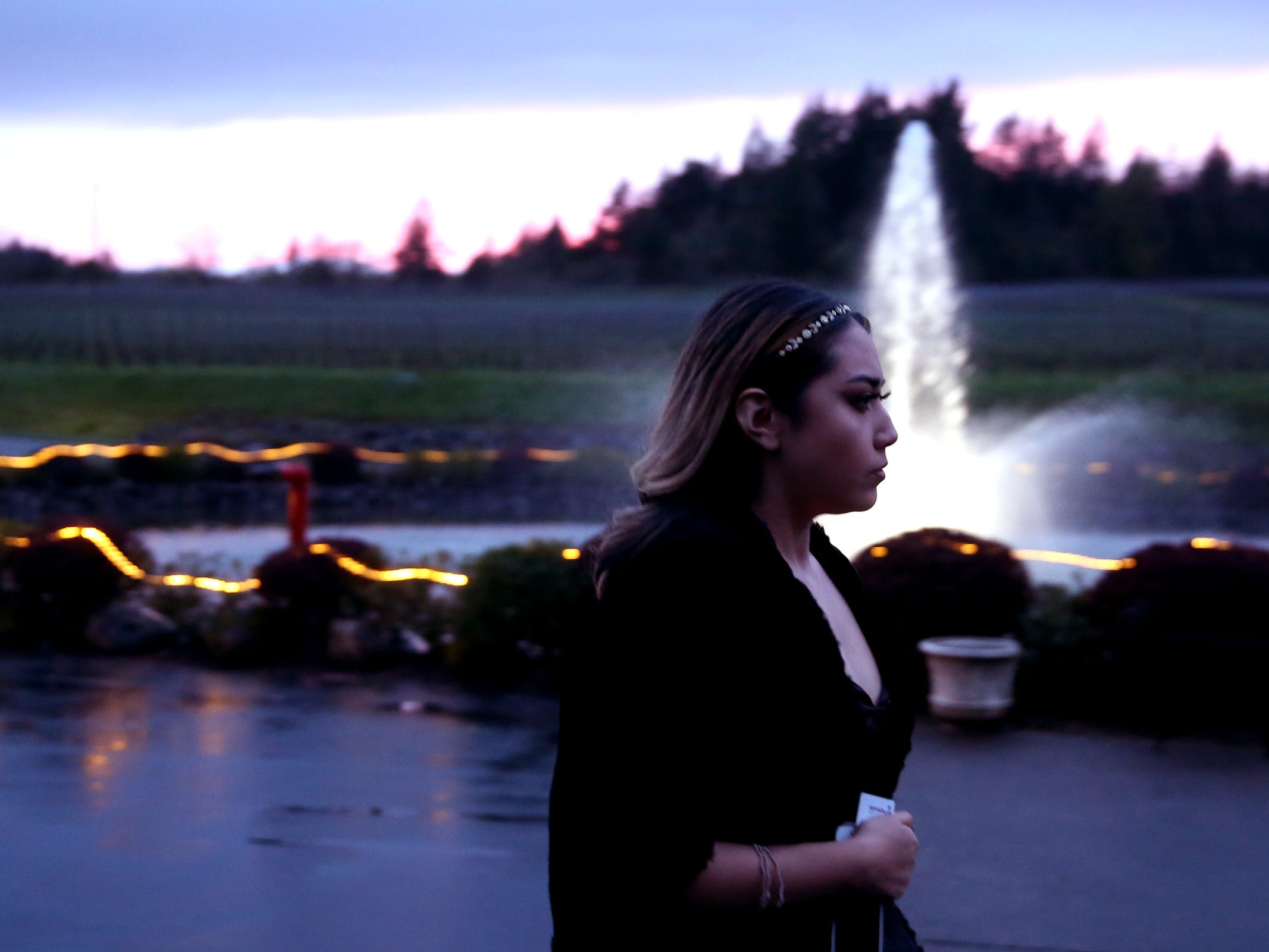 A student arrives for the South Salem High School prom at Zenith Vineyard in West Salem on April 13, 2019.