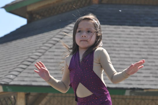 Aubree Guerra, 6, dressed like the late singer Selena and performed at the Selena Tribute Festival in Salinas.