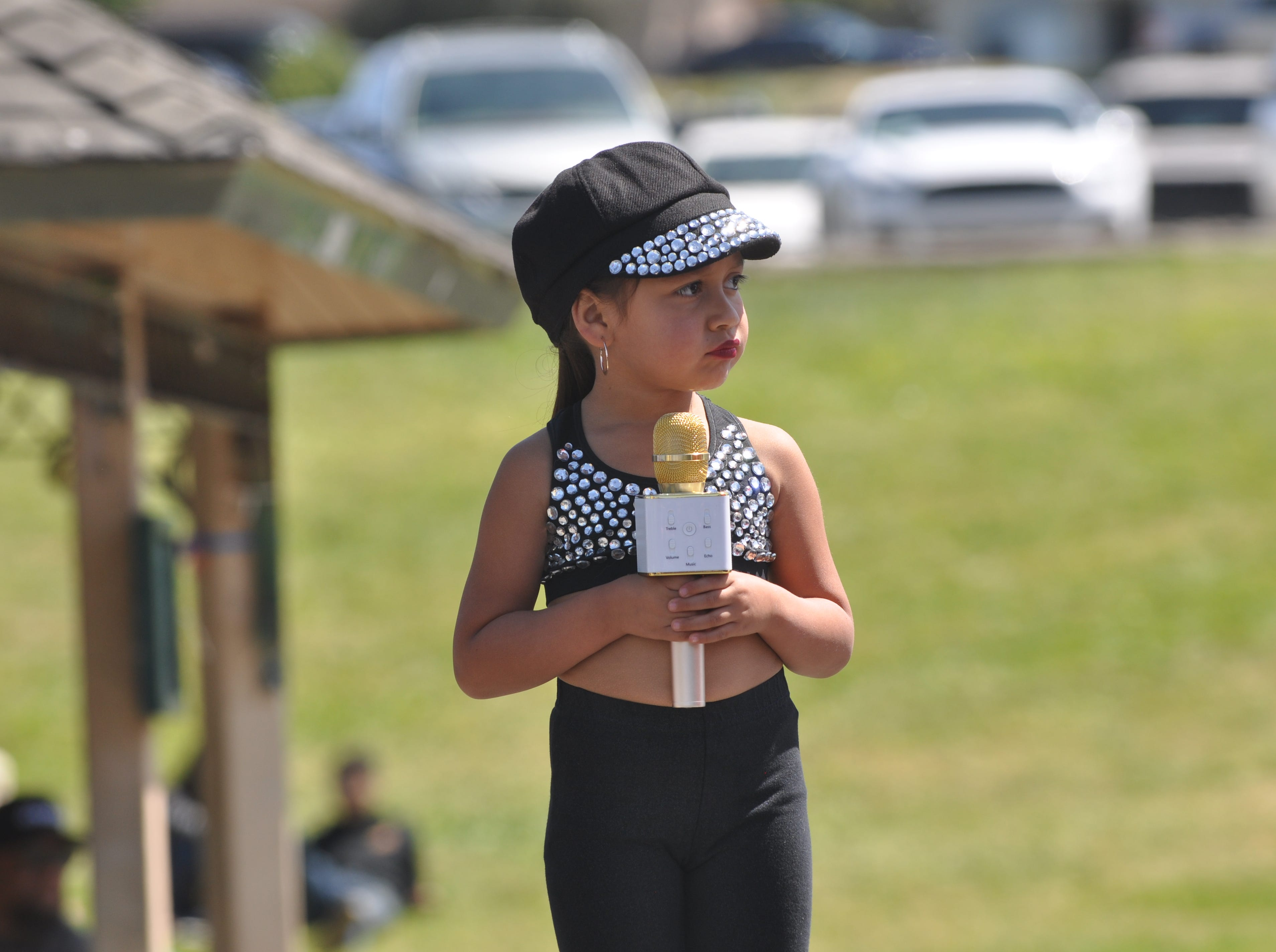 Alondra Jacinto, 5, performs on stage at the second annual Selena Tribute Festival in Salinas.