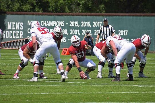 Dalman (51) has solidified himself as the starting center for Stanford after starting in four games at center and guard last season.