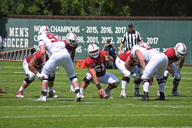 Palma grad Drew Dalman (51) started all 12 games for the Stanford Cardinal at center last season. This year, he's been named to the Outland Trophy watch list.
