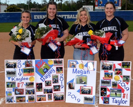The 2019 Evangel seniors include Kaylee Colding, Bayley Mayor, manager Megan Moss and Taylor Mayo.