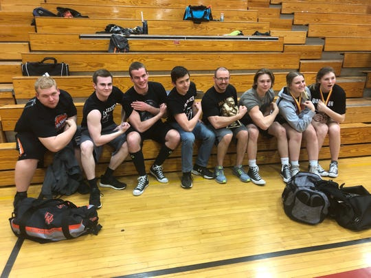 The Dell Rapids powerlifting team, following the state meet on March 23 at Sioux Falls Roosevelt High School (l-r): Zach Schreier, Ethan Riswold, Brandon Geraets, Andy Nordstrom, Coach Alex Hanson, Thane Hilmoe, Hannah Fletcher, Jamie Huygens.