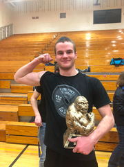 Brandon Geraets following the state powerlifting meet at Sioux Falls Roosevelt High School on March 23, 2019.