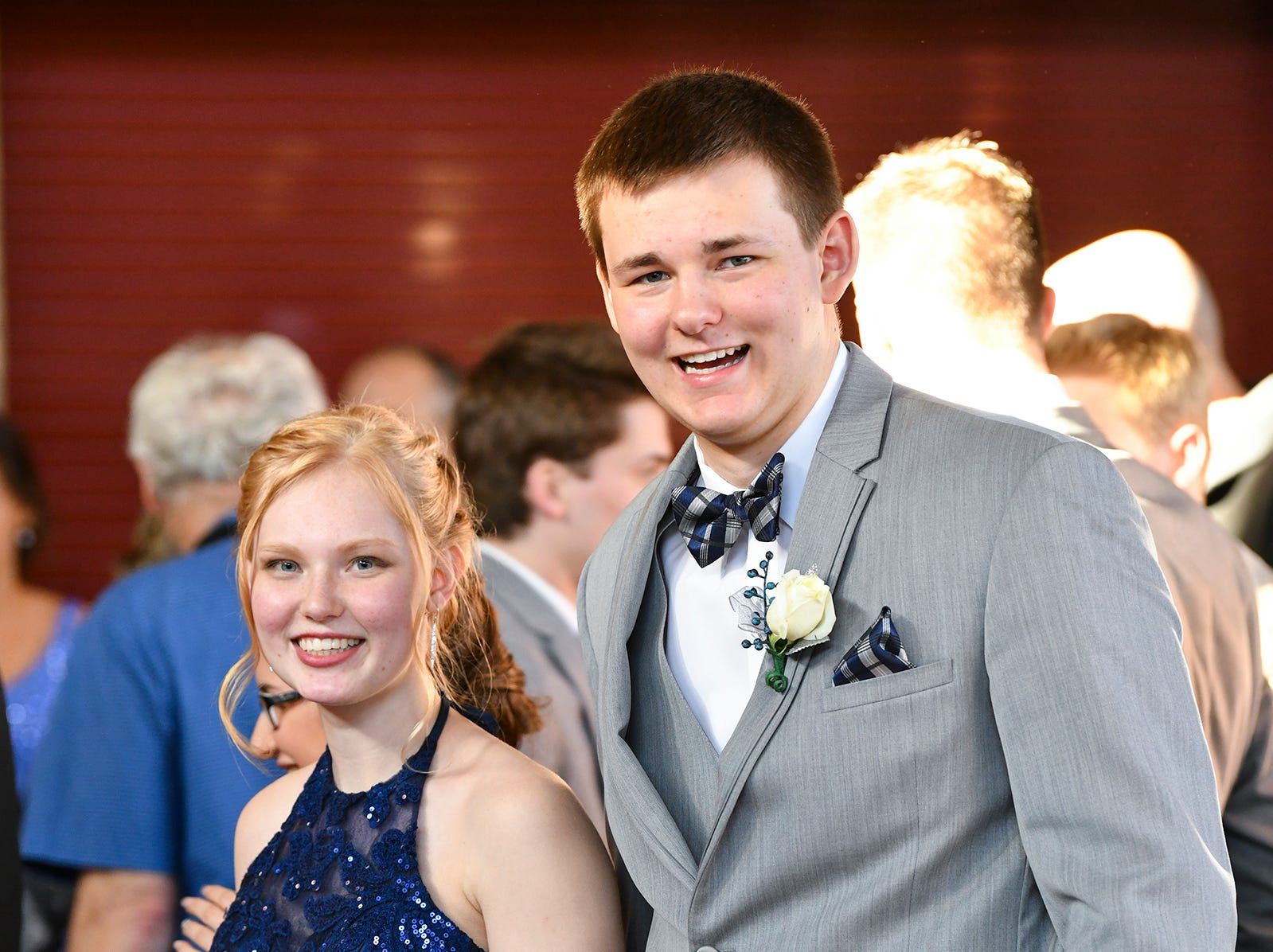 Alexia Reinhardt and Noah Szafranski wait their turn in line before prom grand march Saturday, April 13, at ROCORI High School in Cold Spring.