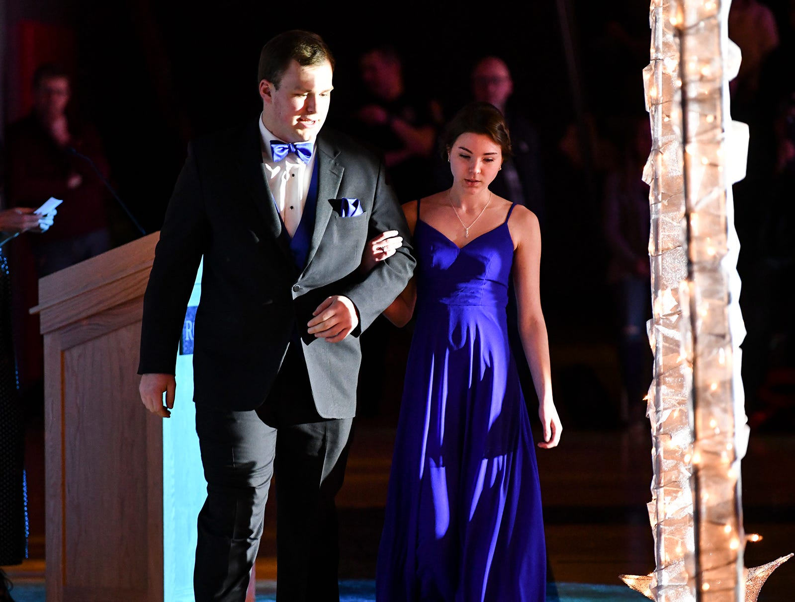 A couple prepares for their turn at prom grand march Saturday, April 13, at ROCORI High School in Cold Spring.