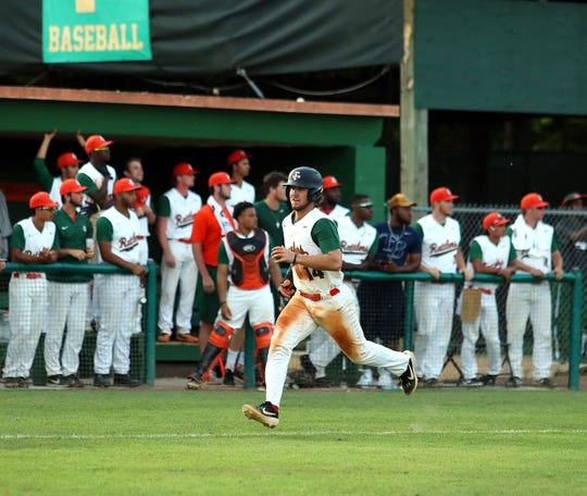 FAMU first baseman Tucker Rayburn dashes home in Game 2 of a doubleheader versus B-CU on Saturday, April 13, 2019.