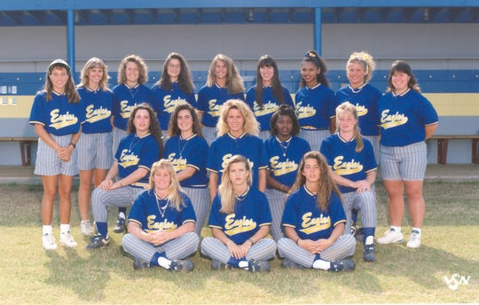 Softball team photo of the 1994 TCC Eagles. The squad won the NJCAA softball championship.