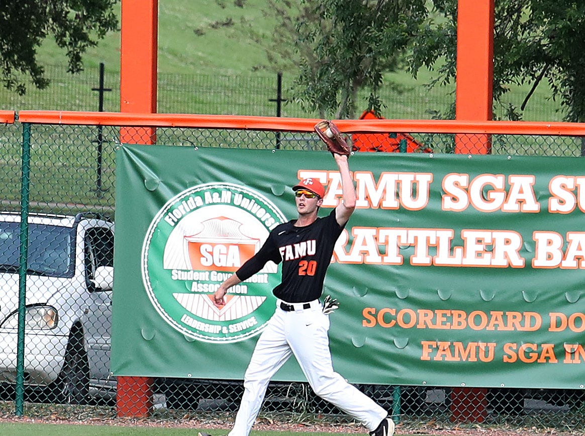 FAMU outfielder Jared Weber hauls in a catch in Game 1 of a doubleheader versus B-CU on Saturday, April 13, 2019.