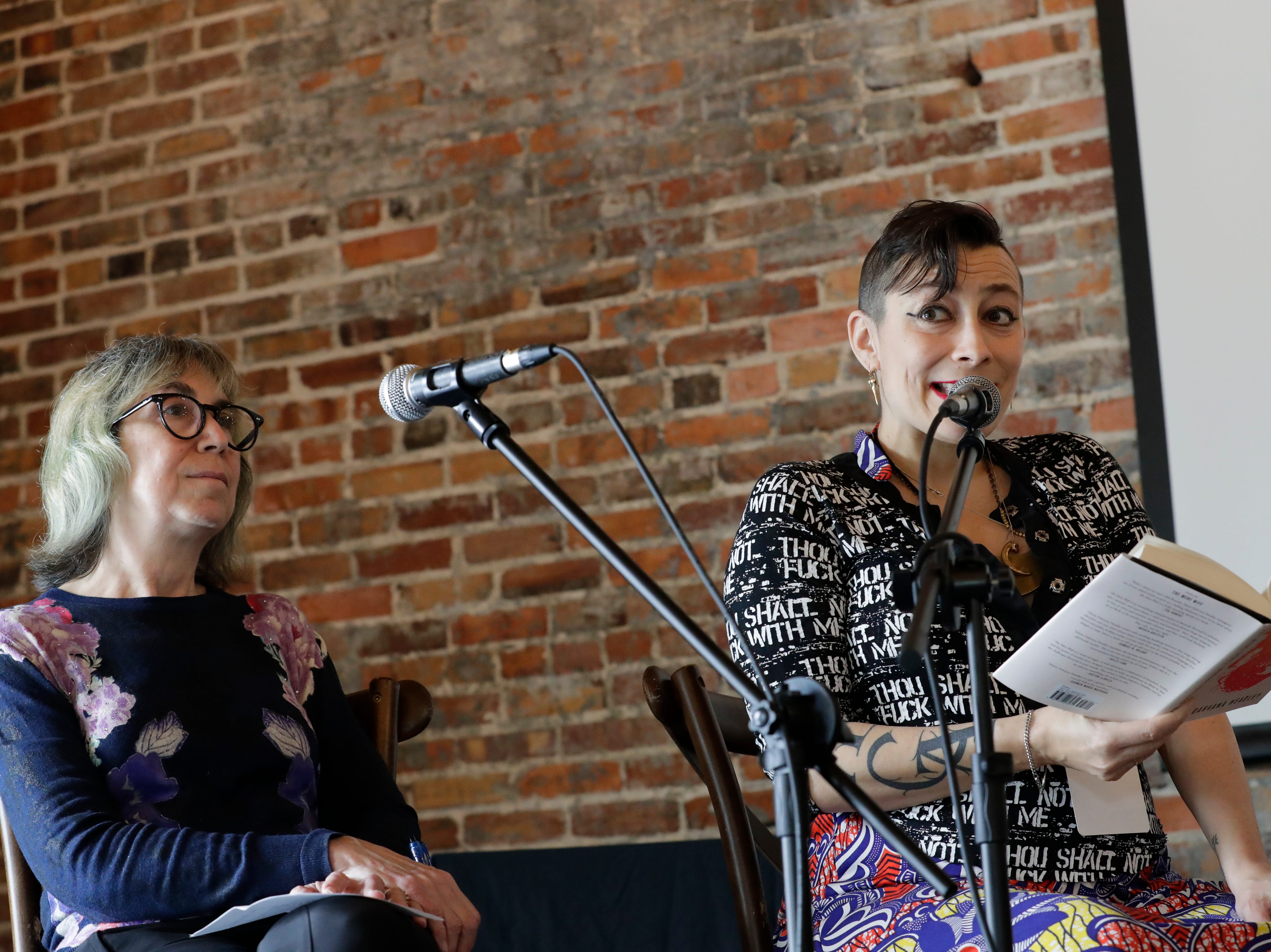 "Maria Dahvana Headley reads an excerpt from her book ""The Mere Wife"" at The Edison during the Word of South festival Sunday, April 14, 2019."