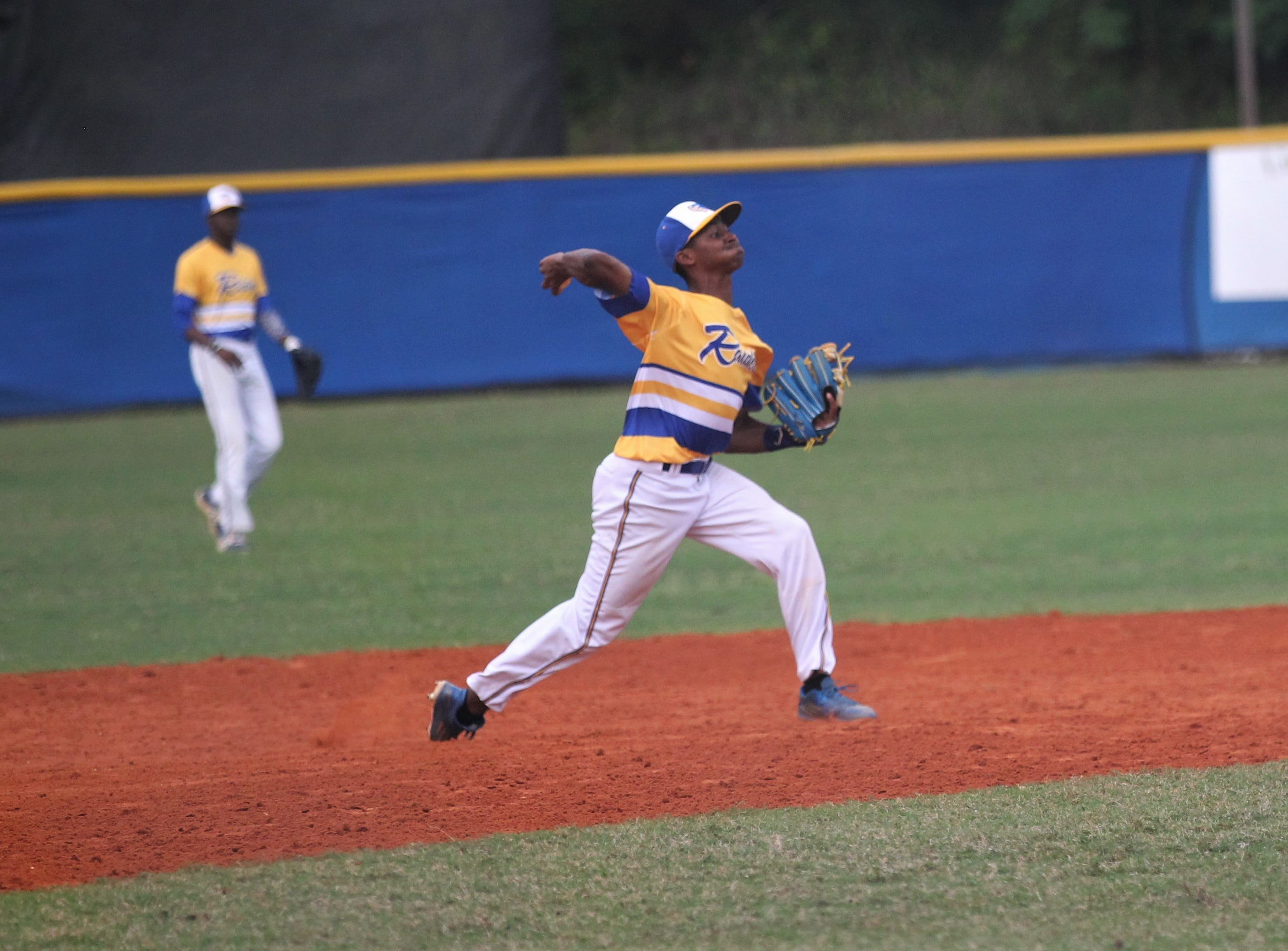 Rickards sophomore shortstop Lawrence Steed throws to first for an out as Rickards beat Gadsden County 18-0 in three innings on Friday, April 12, 2019.