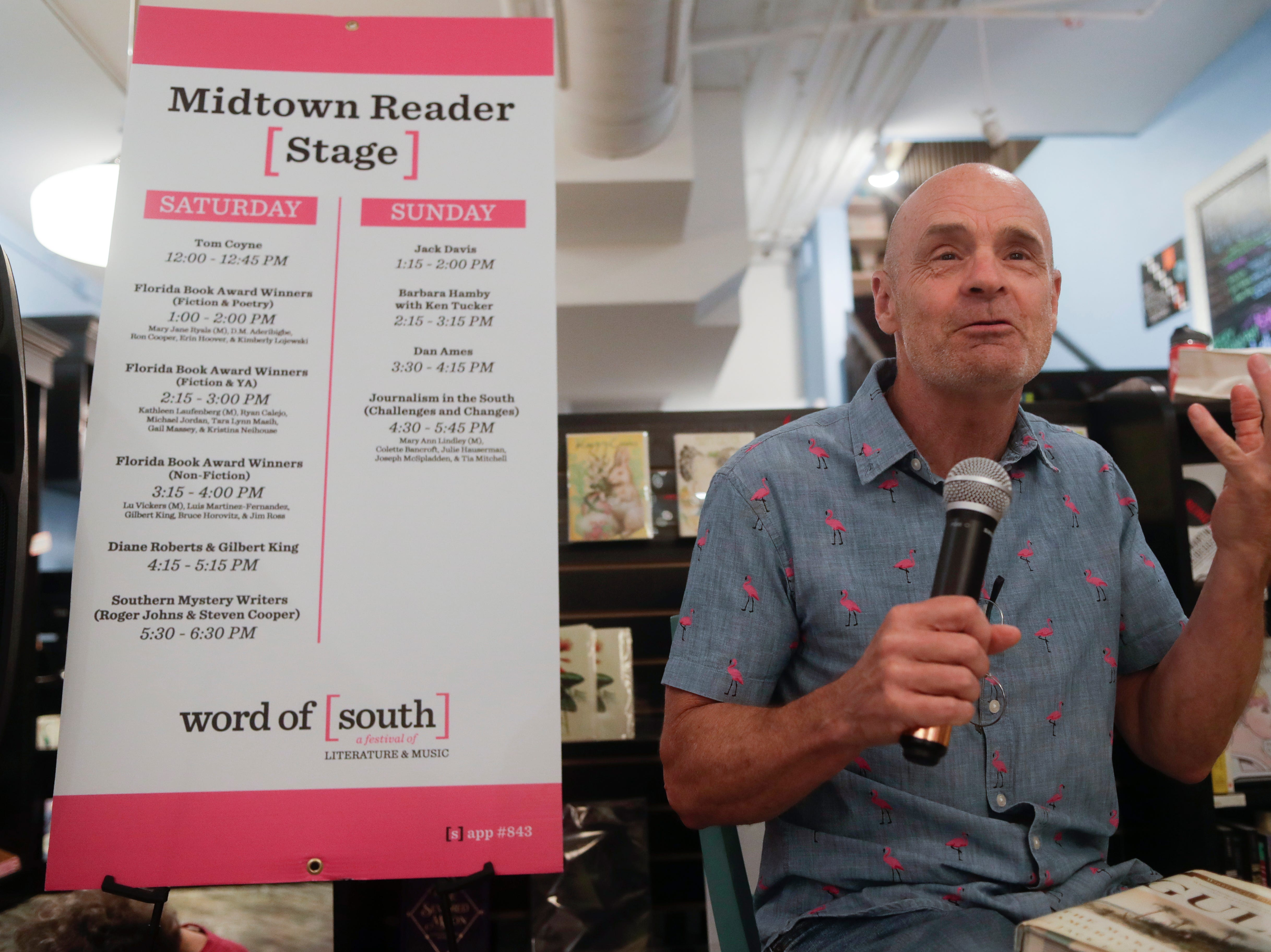 "Author Jack Davis reads an excerpt from his book ""The Gulf"" at Midtown Reader during the Word of South festival Sunday, April 14, 2019."