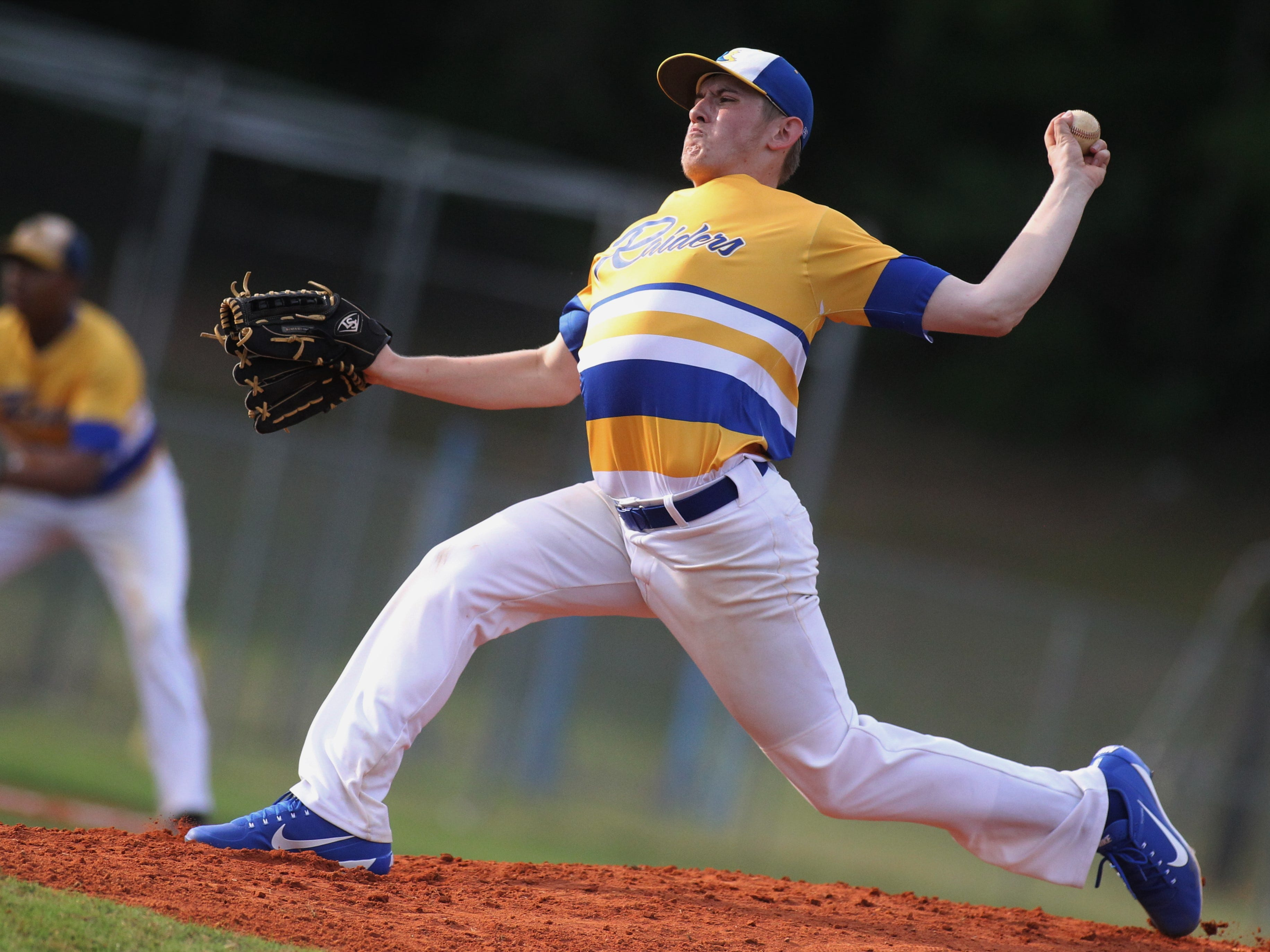 Rickards senior Justin Huber pitches as Rickards beat Gadsden County 18-0 in three innings on Friday, April 12, 2019.