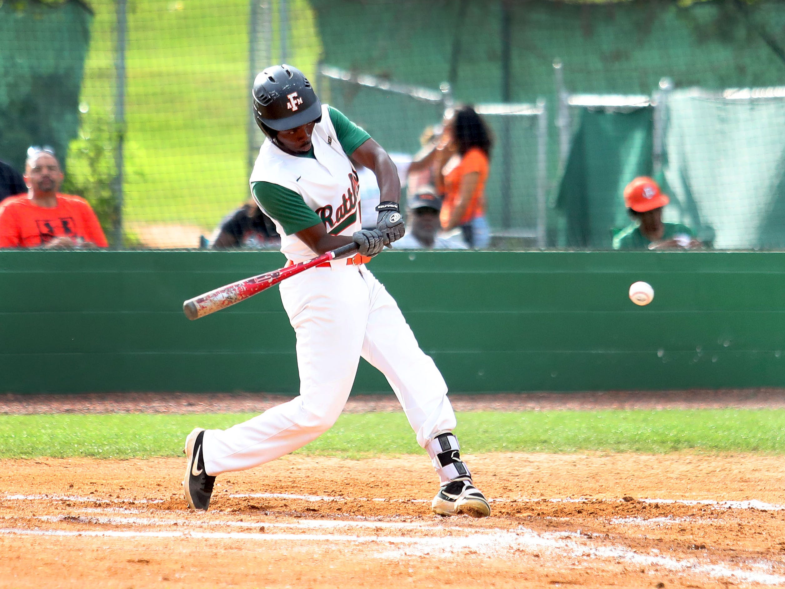 FAMU left fielder Seyjuan Lawrence went 1 for 3 with 2 RBI and a run scored in Game 2 of a doubleheader versus B-CU on Saturday, April 13, 2019.
