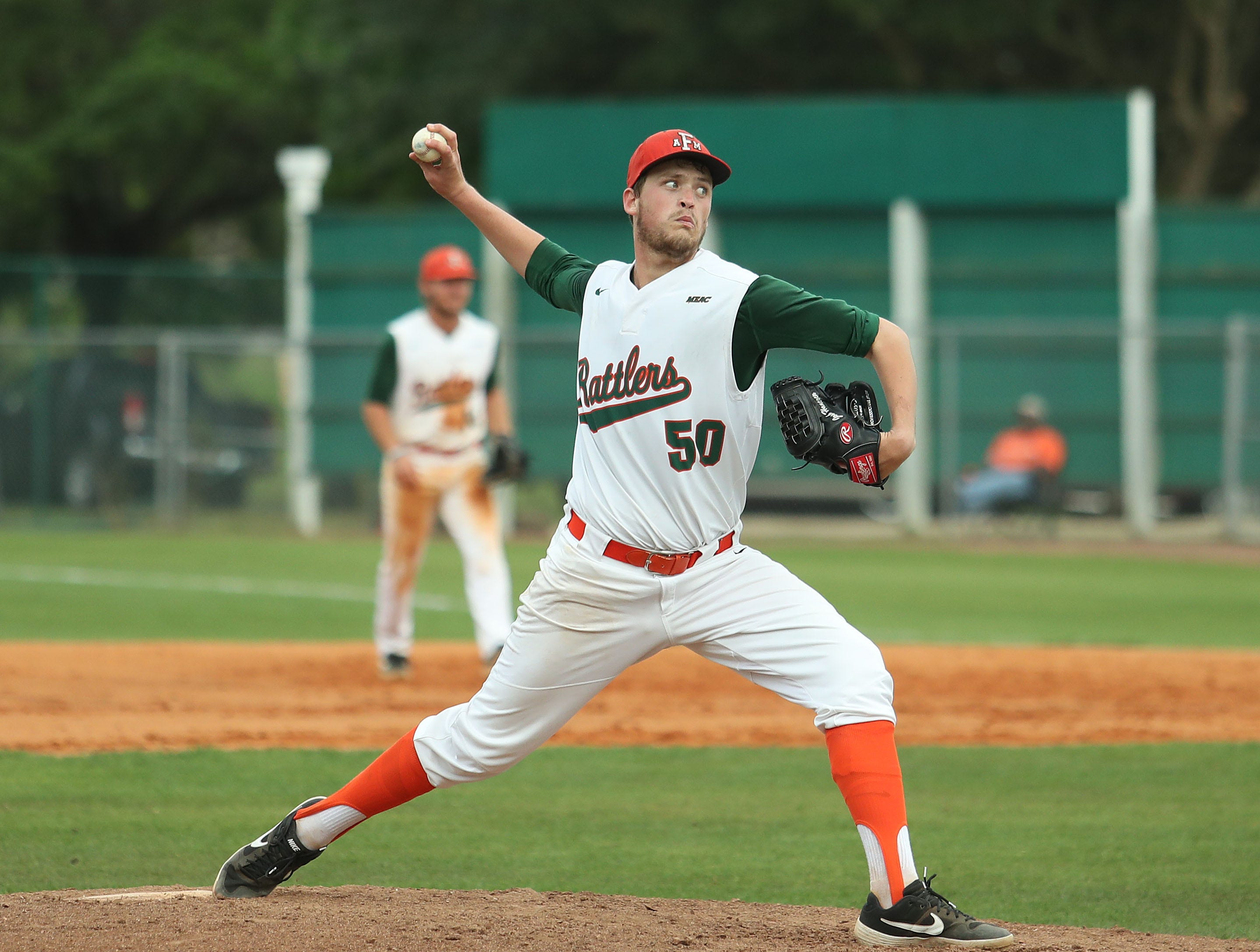FAMU pitcher Josh Hancock delivers from the mound versus B-CU on Saturday, April 14, 2019.
