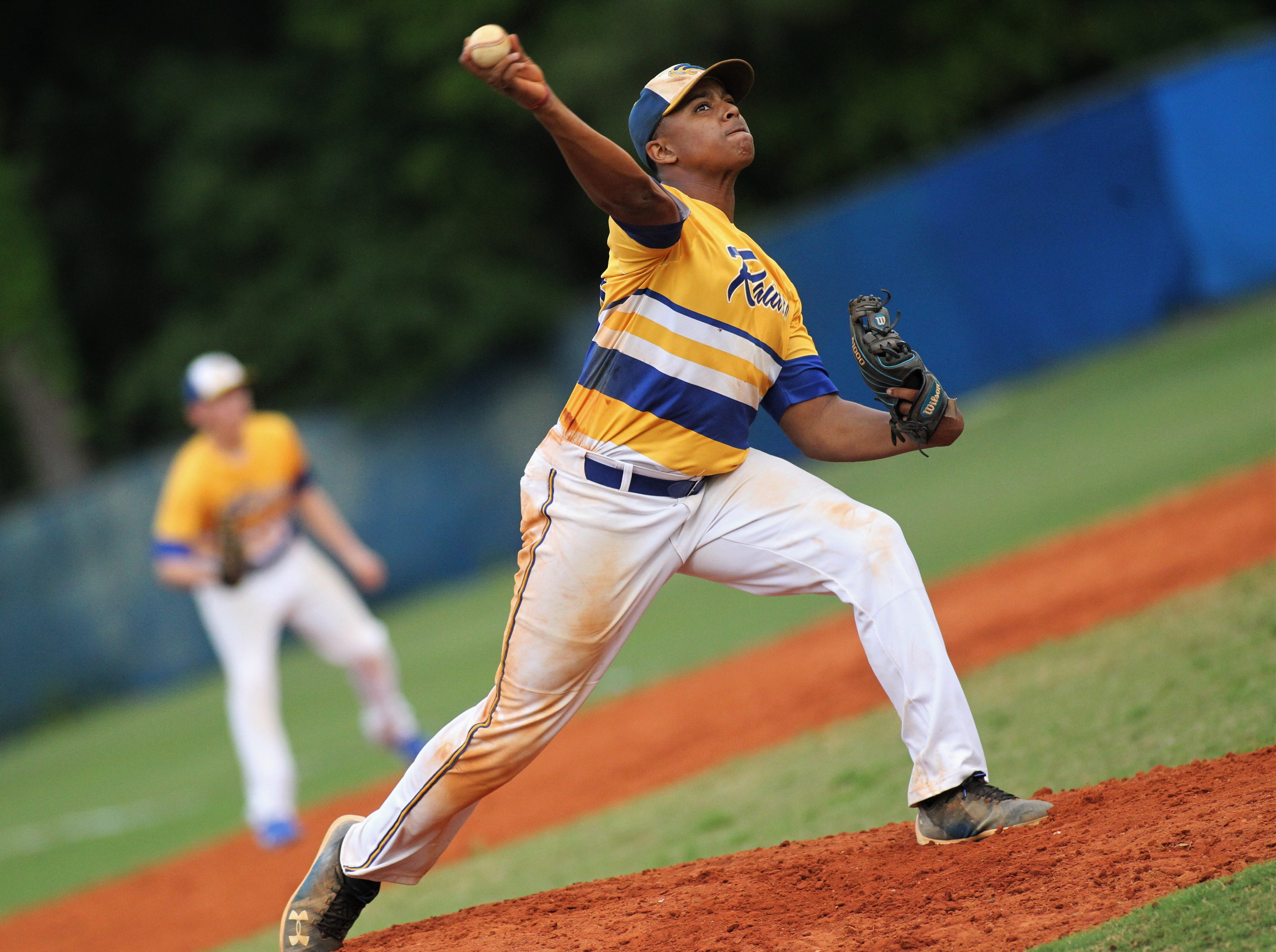 Rickards senior Norris Leland pitches as Rickards beat Gadsden County 18-0 in three innings on Friday, April 12, 2019.