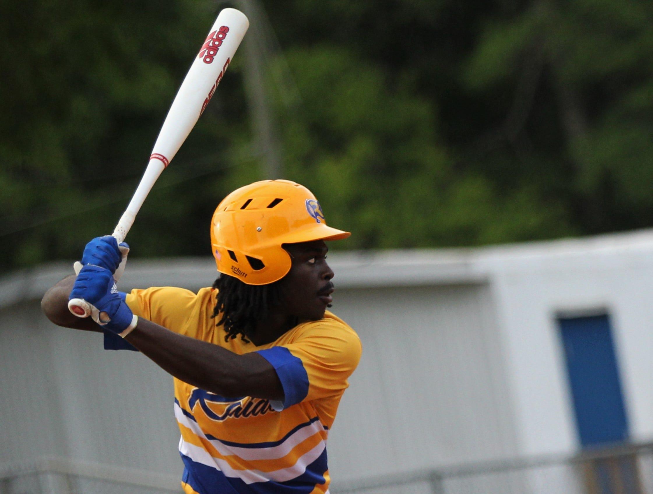 Rickards sophomore Kaleb Henry bats as Rickards beat Gadsden County 18-0 in three innings on Friday, April 12, 2019.