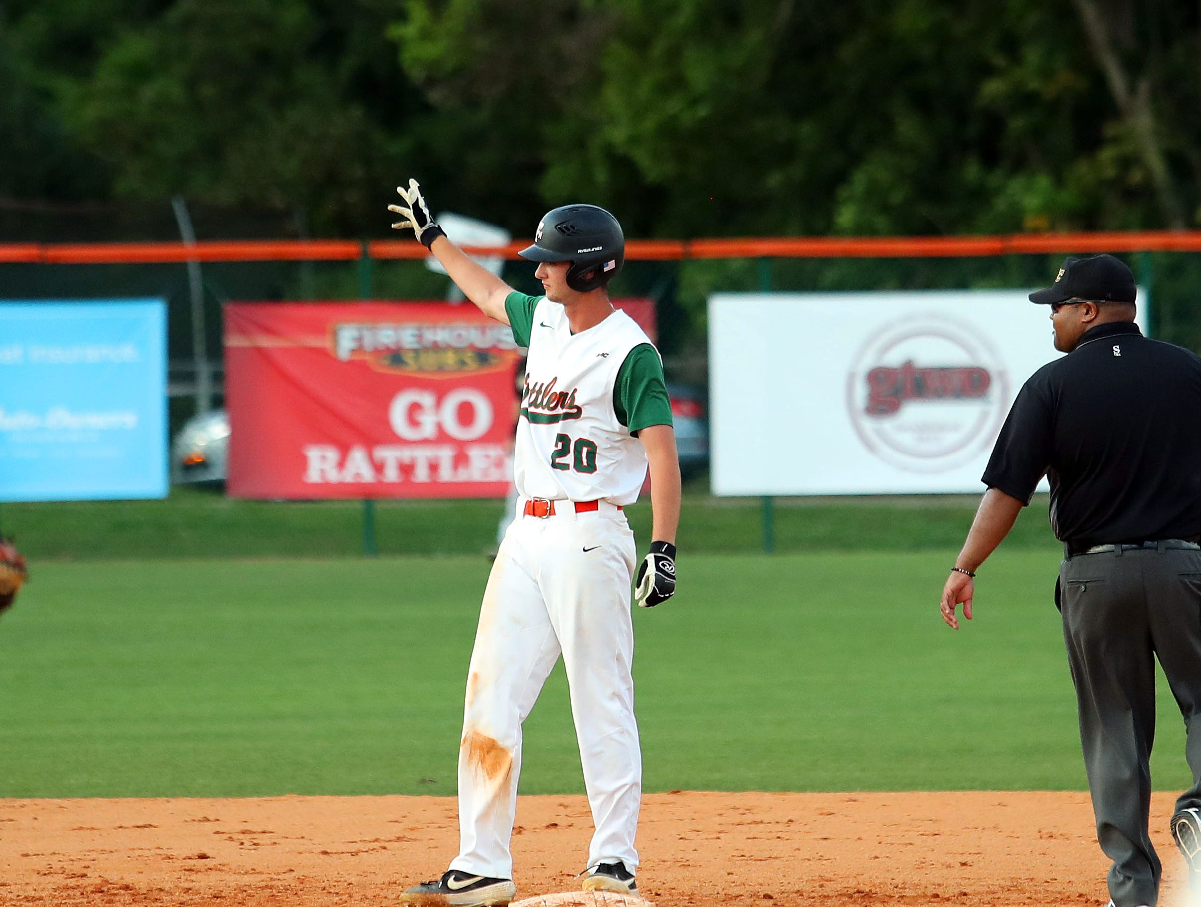 FAMU right fielder Jared Weber celebrates a double in Game 2 of the doubleheader versus B-CU on Saturday, April 13, 2019.