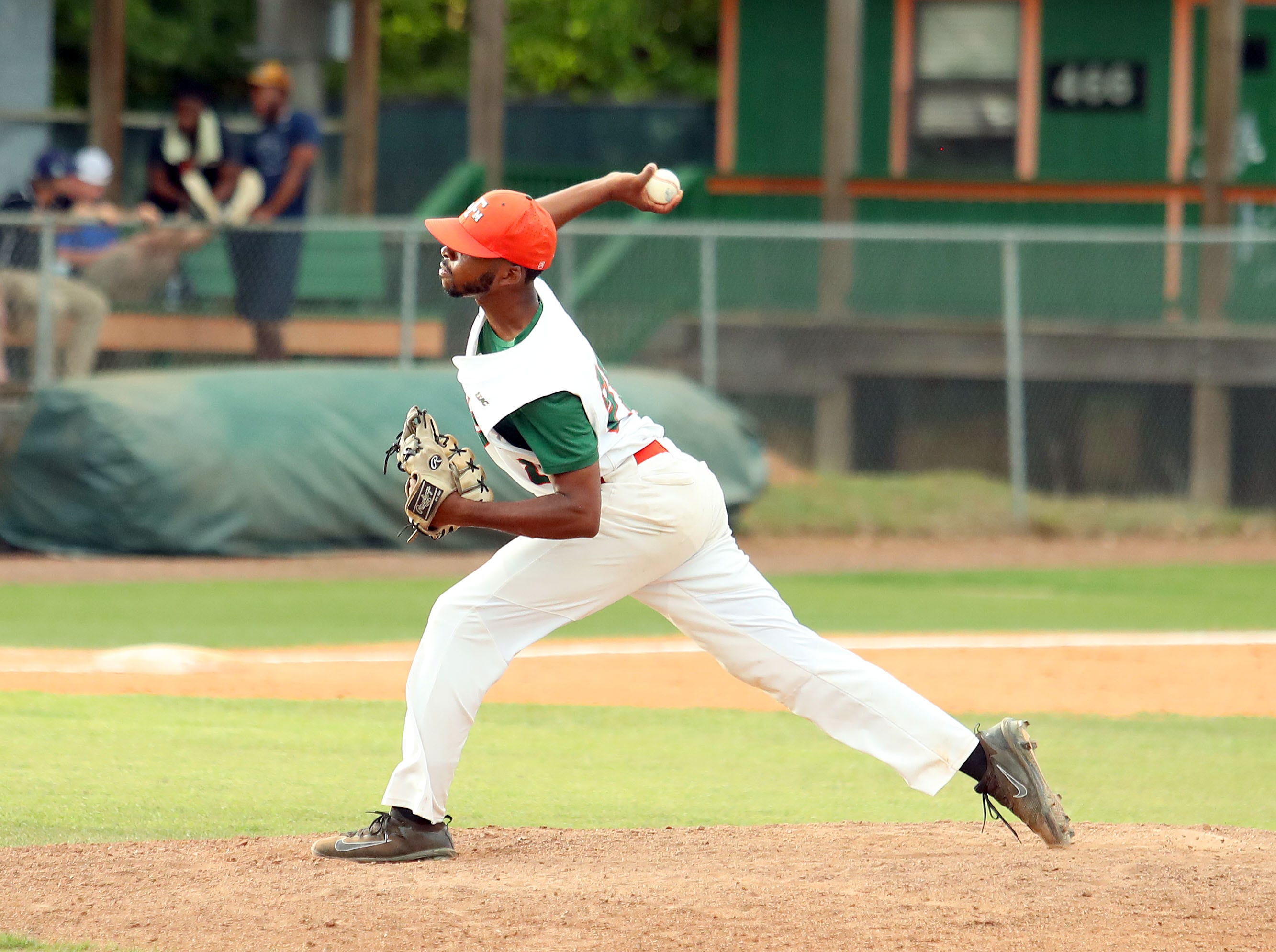 FAMU pitcher Jeremiah Mccullum earned a win in 1.2 innings of relief in Game 2 of a doubleheader versus B-CU on Saturday, April 13, 2019.