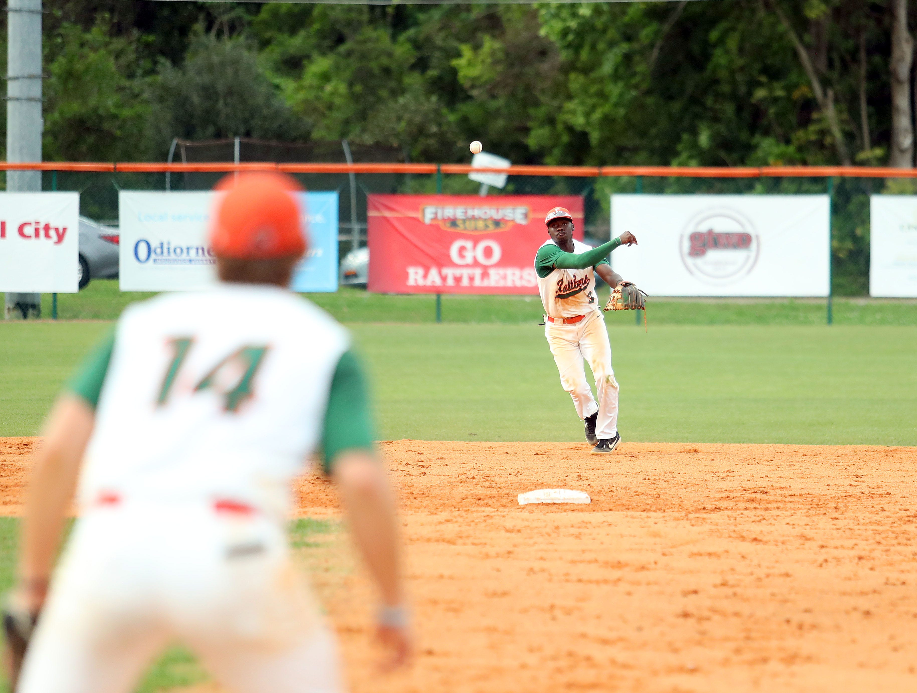 FAMU shortstop Robert Robinson throws out a runner in Game 2 of the doubleheader versus B-CU on Saturday, April 13, 2019.