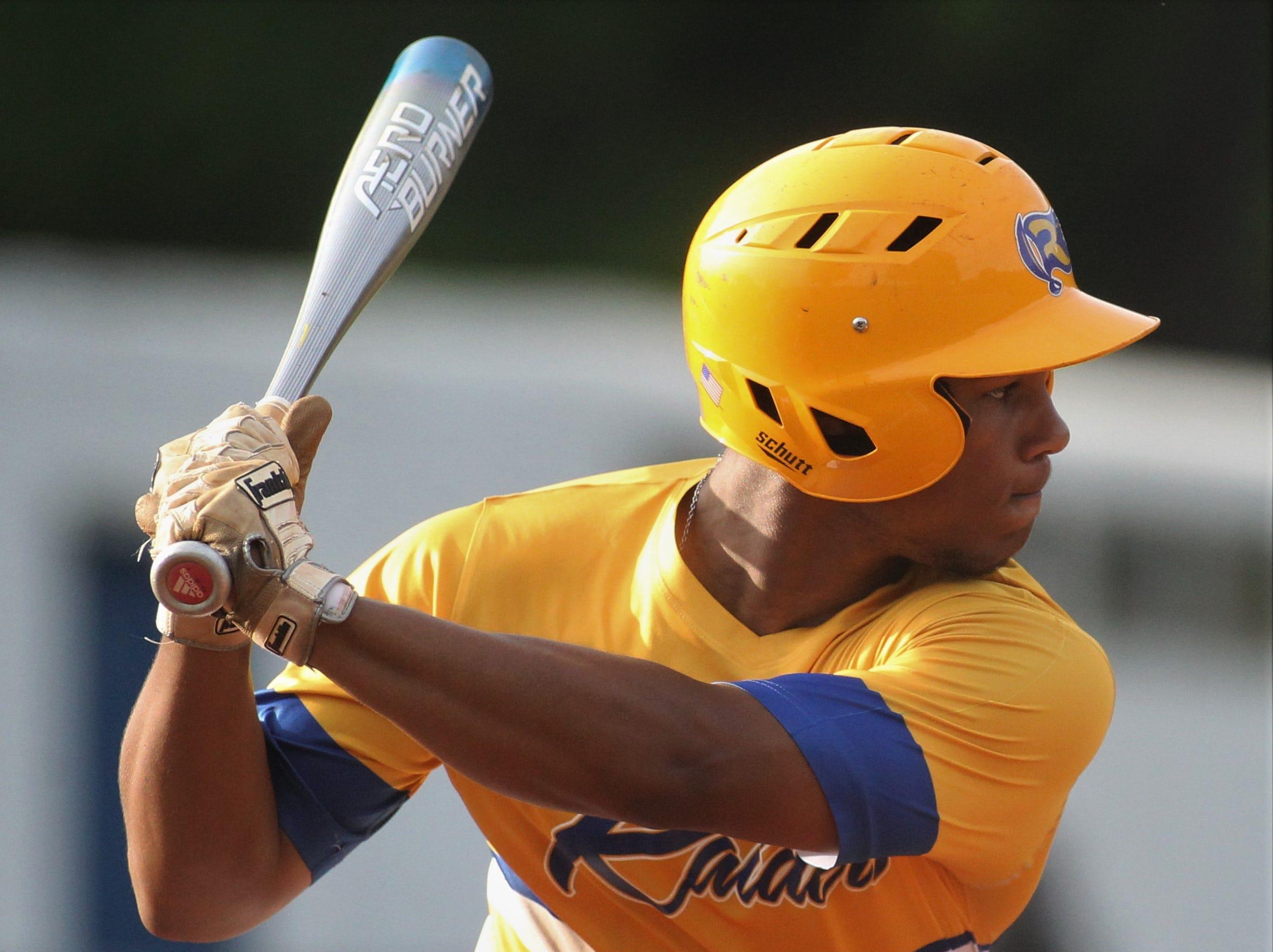 Rickards sophomore Will Brown bats as Rickards beat Gadsden County 18-0 in three innings on Friday, April 12, 2019.