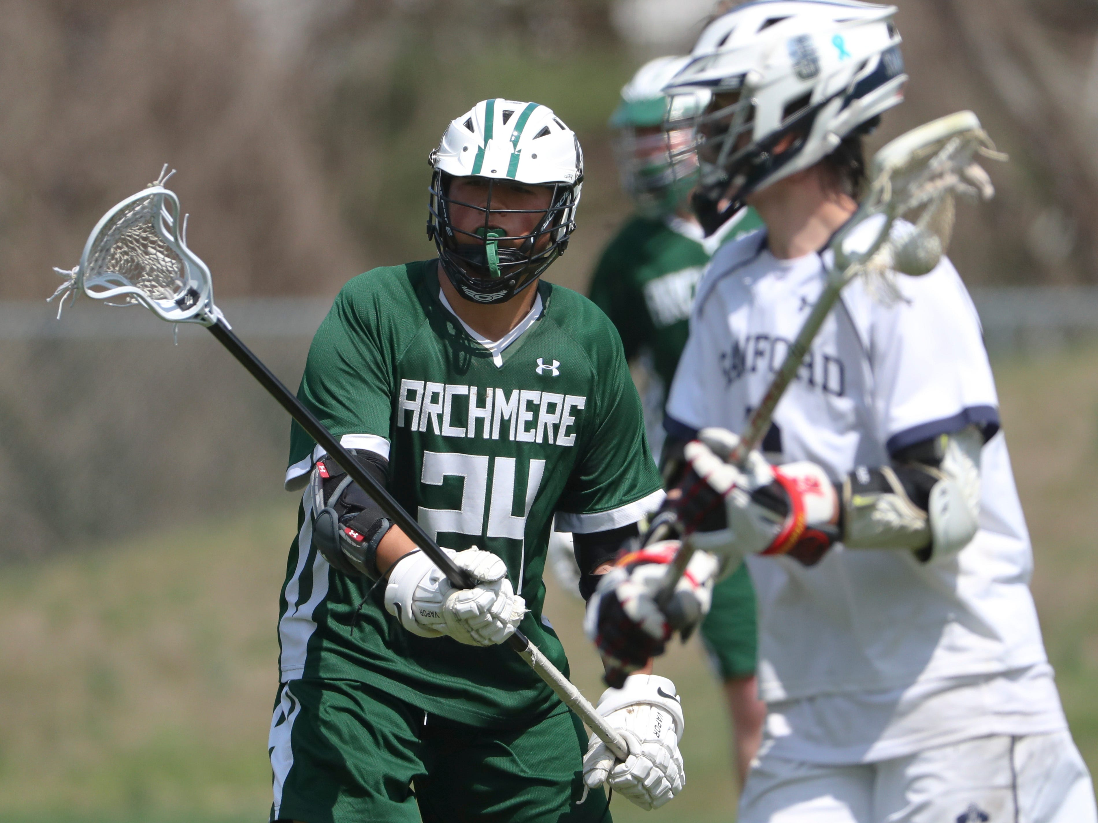 Archmere's Andrew Shi eyes the ball on defense in the second half of Sanford's 12-10 win Saturday.