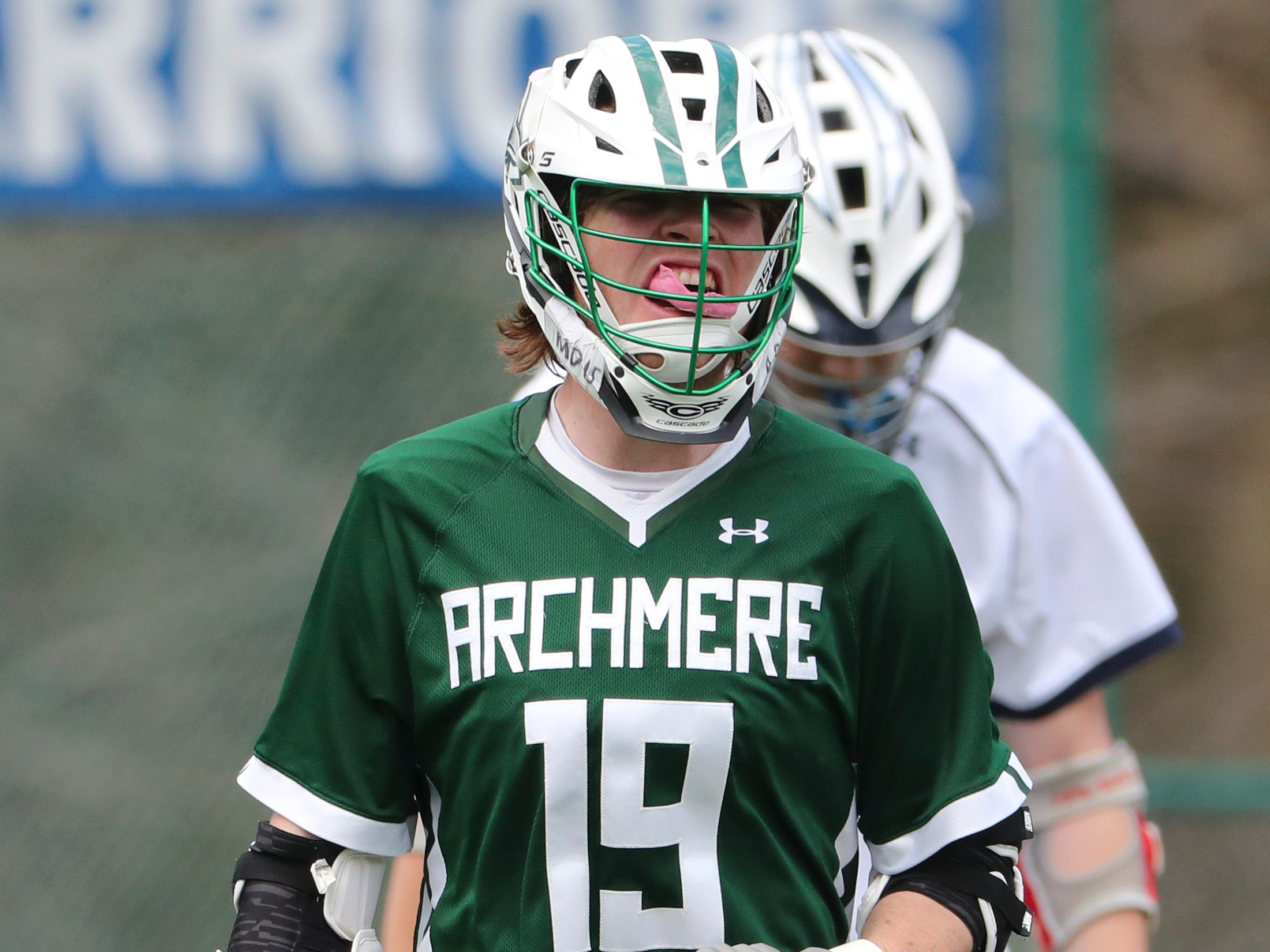 Archmere's Ryan Farrell reacts to a score in the second half of Sanford's 12-10 win Saturday.