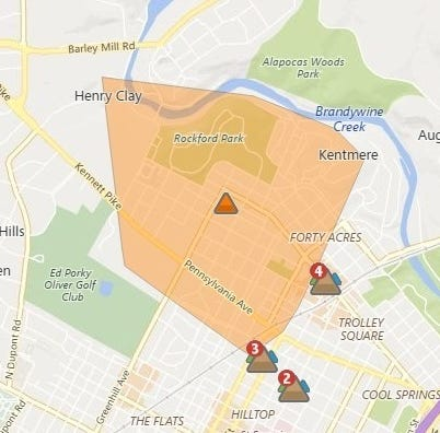 More than 1,000 without power in Wilmington's Forty Acres and Highlands neighborhoods