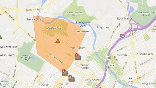Approximately 1,460 people were without power in Wilmington as of 2 p.m. Sunday afternoon.
