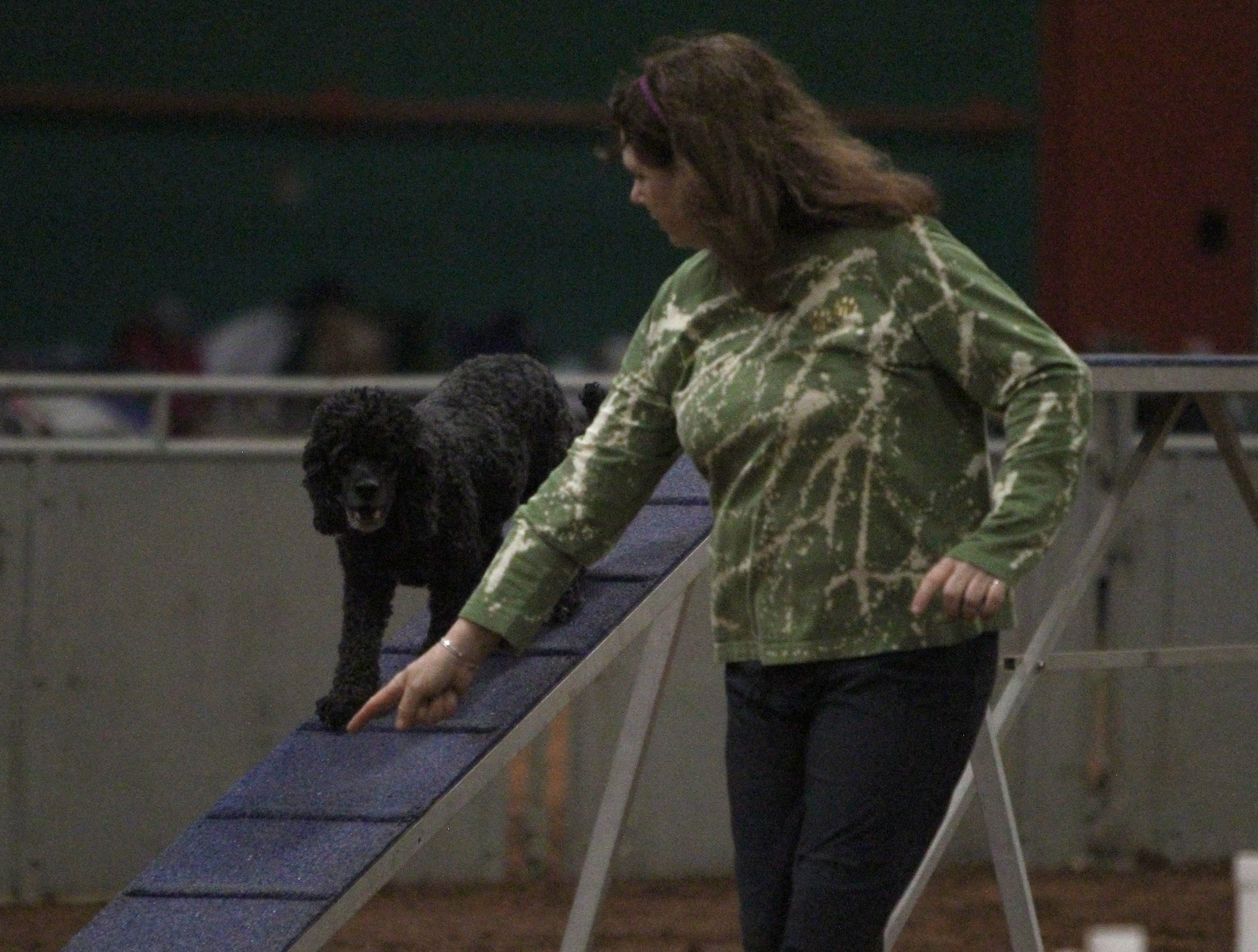 Caroline King points to the next location for Kai Saturday, April 13, 2019, during the Obedience Training Club of Wichita Falls agility trial in the J.S. Bridwell Agricultural Center.