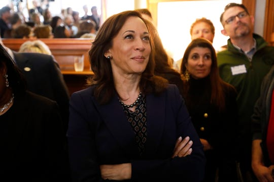 2020 Democratic presidential candidate Sen. Kamala Harris waits to speak at a house party, April 11, 2019, in Des Moines, Iowa.