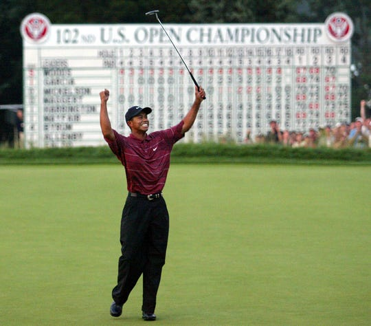 Tiger Woods celebrates his 2002 U.S. Open win at Bethpage Black in Farmingdale, N.Y. -- the site of the 2019 PGA Championship.