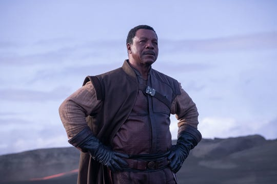"Greef (Carl Weathers) heads a up a guild of galactic bounty hunters in ""The Mandalorian."""