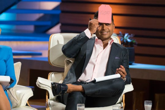 "Guest shark Rohan Oza played along with Dan Killian's Pricetitution card game on ""Shark Tank."""