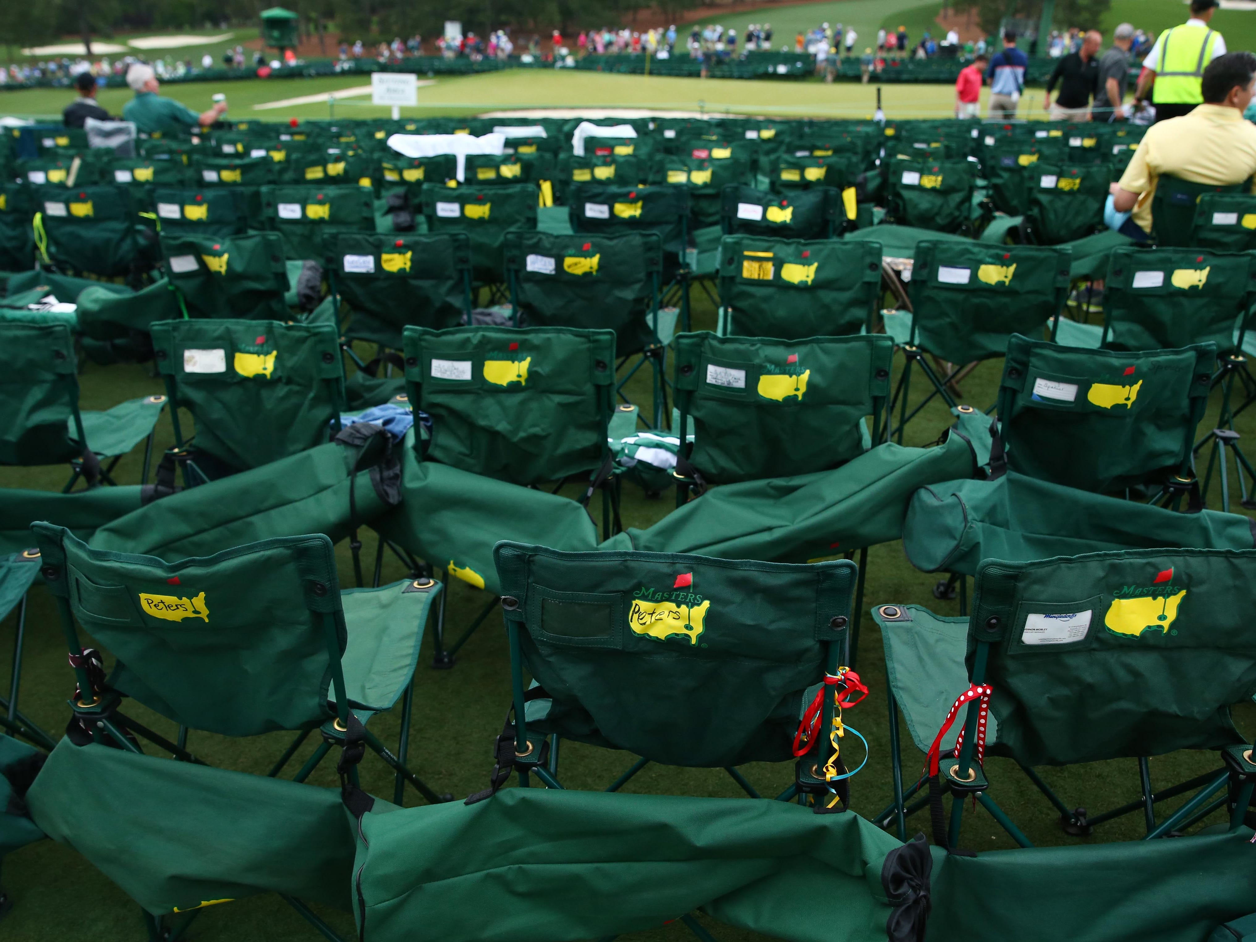 Chairs placed along the 18th green during the final round of The Masters.