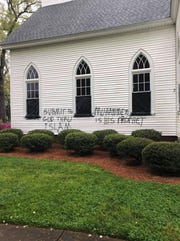 Midway Presbyterian Church in Anderson was vandalized sometime between Saturday night and Sunday morning, investigators said.