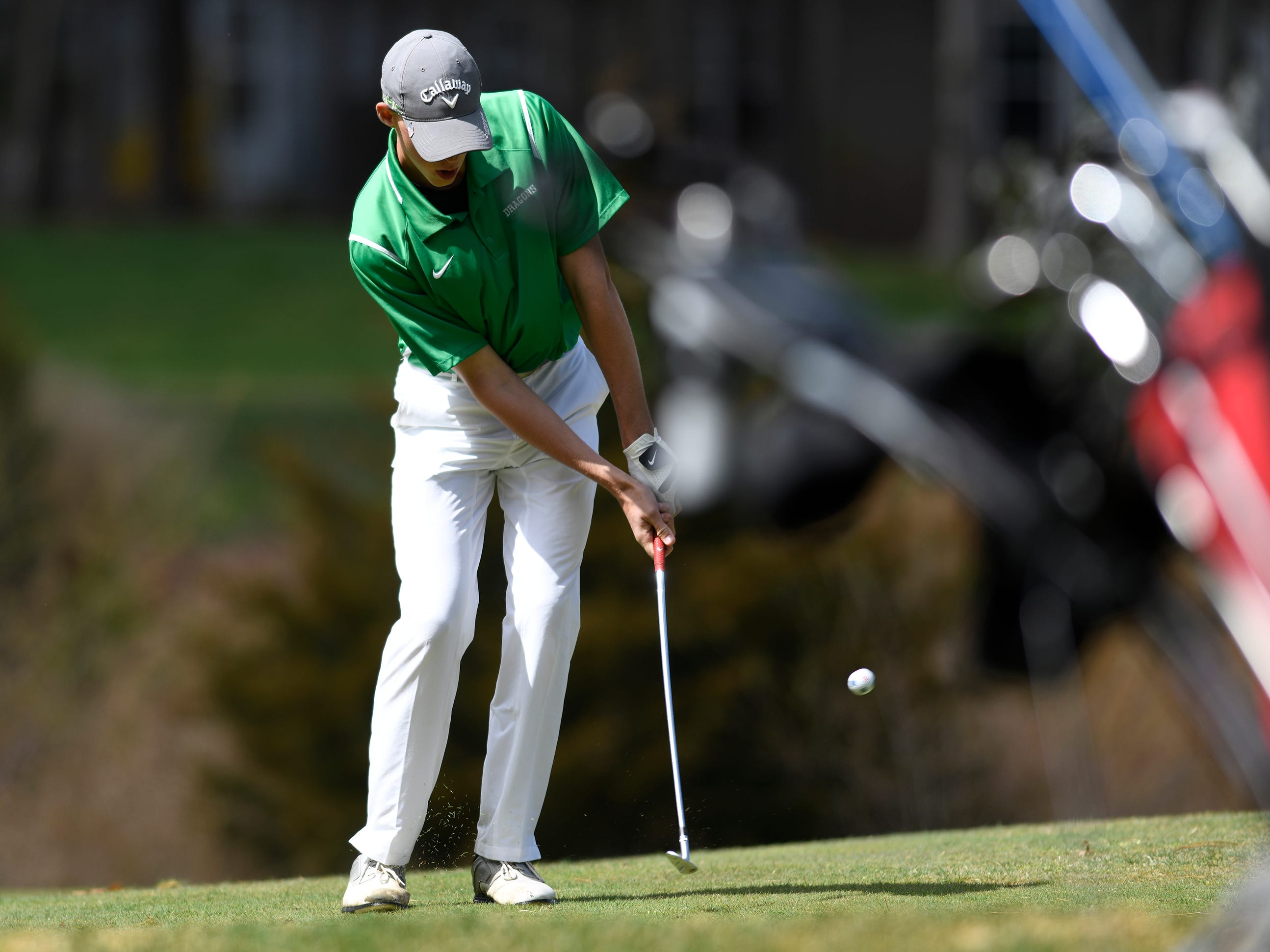 Derek Nahrwold of Brick Township competes at the Ocean County Tournament on April 15, 2019,  at Sea Oaks in Little Egg Harbor. Toms River North's Connor Bekefi emerged as the individual champion with a 3-over-par 75, four shots better than teammate Leo Kane. Toms River North successfully defended its team title, posting a total of 336, which was 18 shots better than Southern. Brick Memorial finished third.