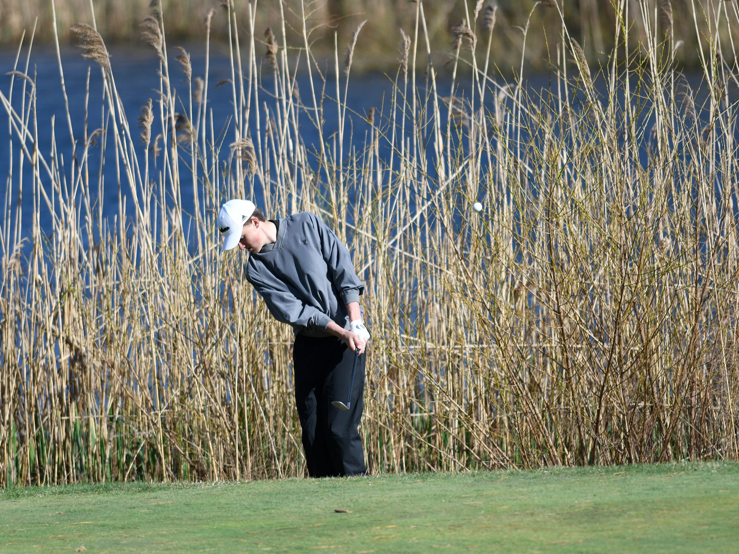 Lasse Lehmann of Southern Regional High School competes at the Ocean County Tournament on April 15, 2019,  at Sea Oaks in Little Egg Harbor. Toms River North's Connor Bekefi emerged as the individual champion with a 3-over-par 75, four shots better than teammate Leo Kane. Toms River North successfully defended its team title, posting a total of 336, which was 18 shots better than Southern. Brick Memorial finished third.