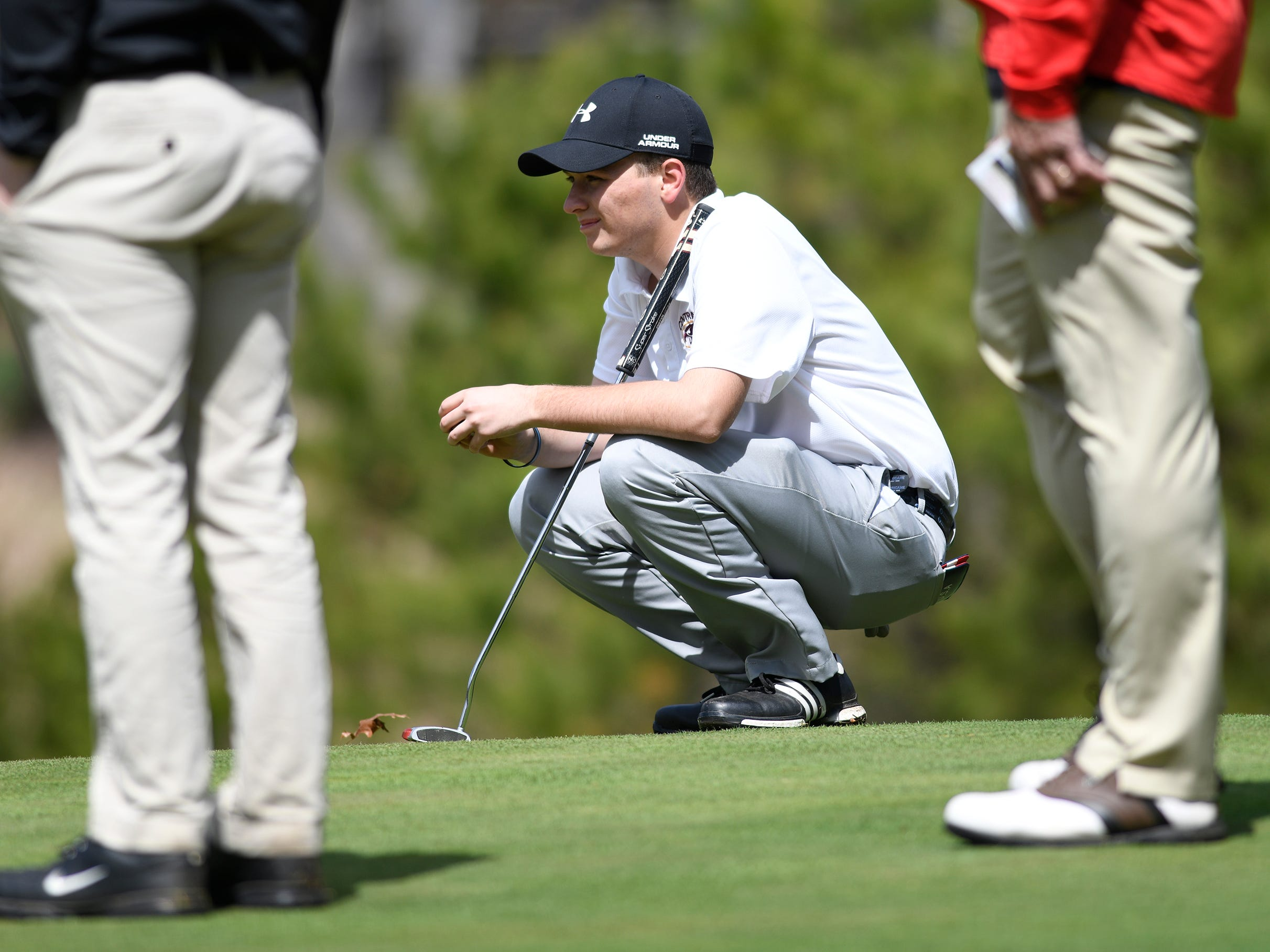 Lenny Lenahan of Central Regional High School competes at the Ocean County Tournament on April 15, 2019,  at Sea Oaks in Little Egg Harbor. Toms River North's Connor Bekefi emerged as the individual champion with a 3-over-par 75, four shots better than teammate Leo Kane. Toms River North successfully defended its team title, posting a total of 336, which was 18 shots better than Southern. Brick Memorial finished third.
