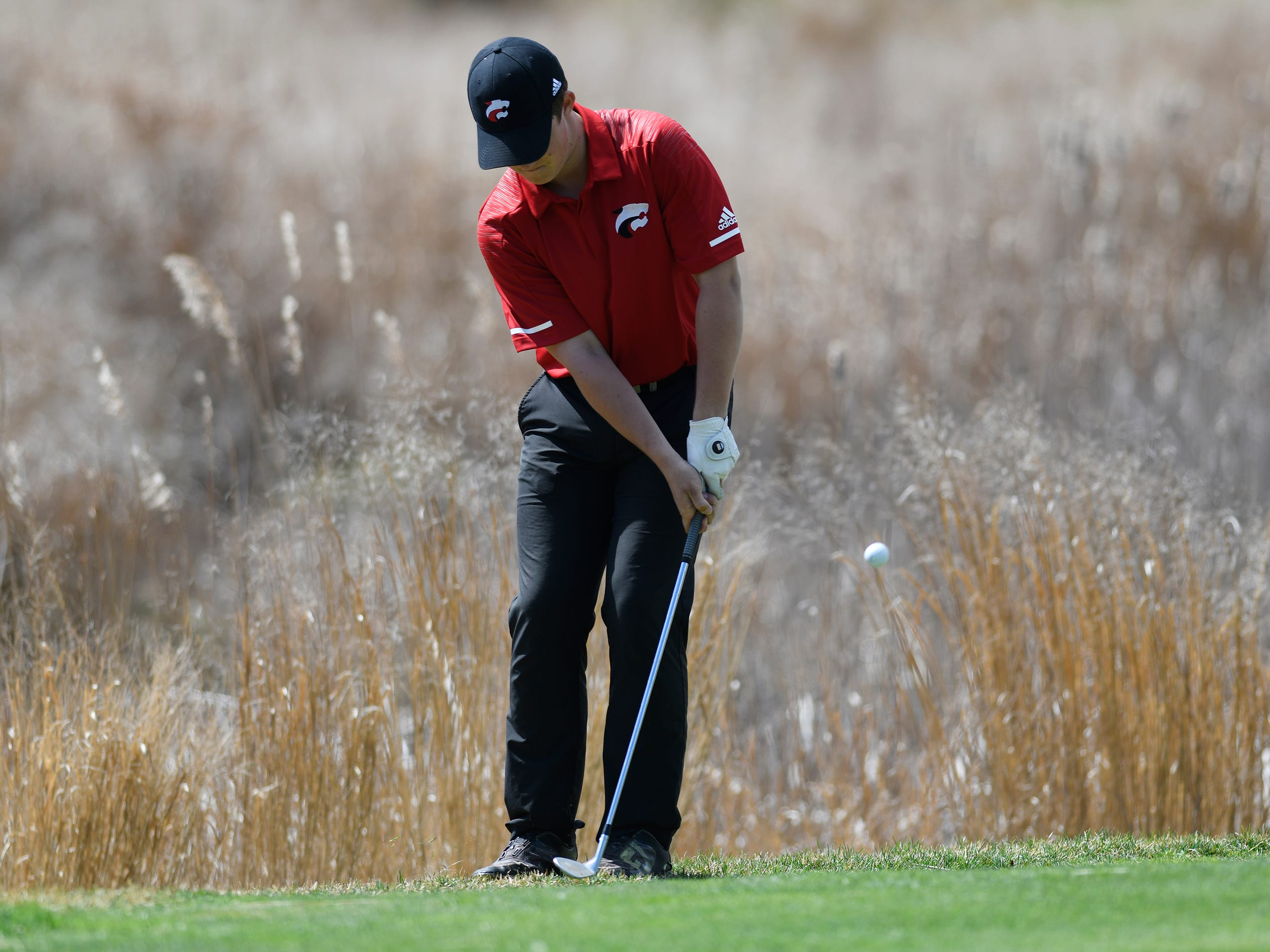 Kyle Rogers of Jackson Memorial competes at the Ocean County Tournament on April 15, 2019,  at Sea Oaks in Little Egg Harbor. Toms River North's Connor Bekefi emerged as the individual champion with a 3-over-par 75, four shots better than teammate Leo Kane. Toms River North successfully defended its team title, posting a total of 336, which was 18 shots better than Southern. Brick Memorial finished third.
