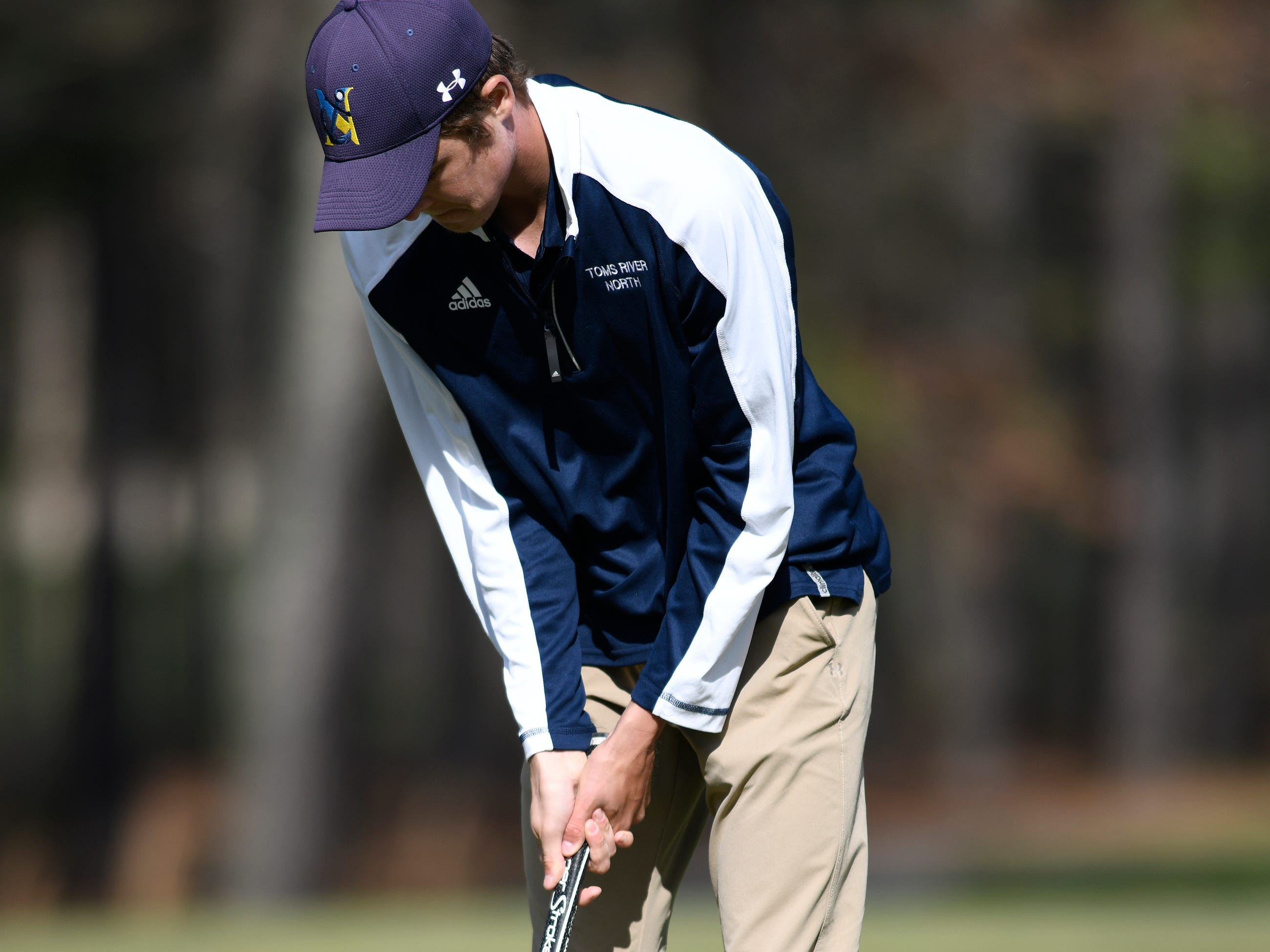Connor Bekefi of Tome River North competes competes at the Ocean County Tournament on April 15, 2019,  at Sea Oaks in Little Egg Harbor.  Bekefi emerged as the individual champion with a 3-over-par 75, four shots better than teammate Leo Kane. Toms River North successfully defended its team title, posting a total of 336, which was 18 shots better than Southern. Brick Memorial finished third.