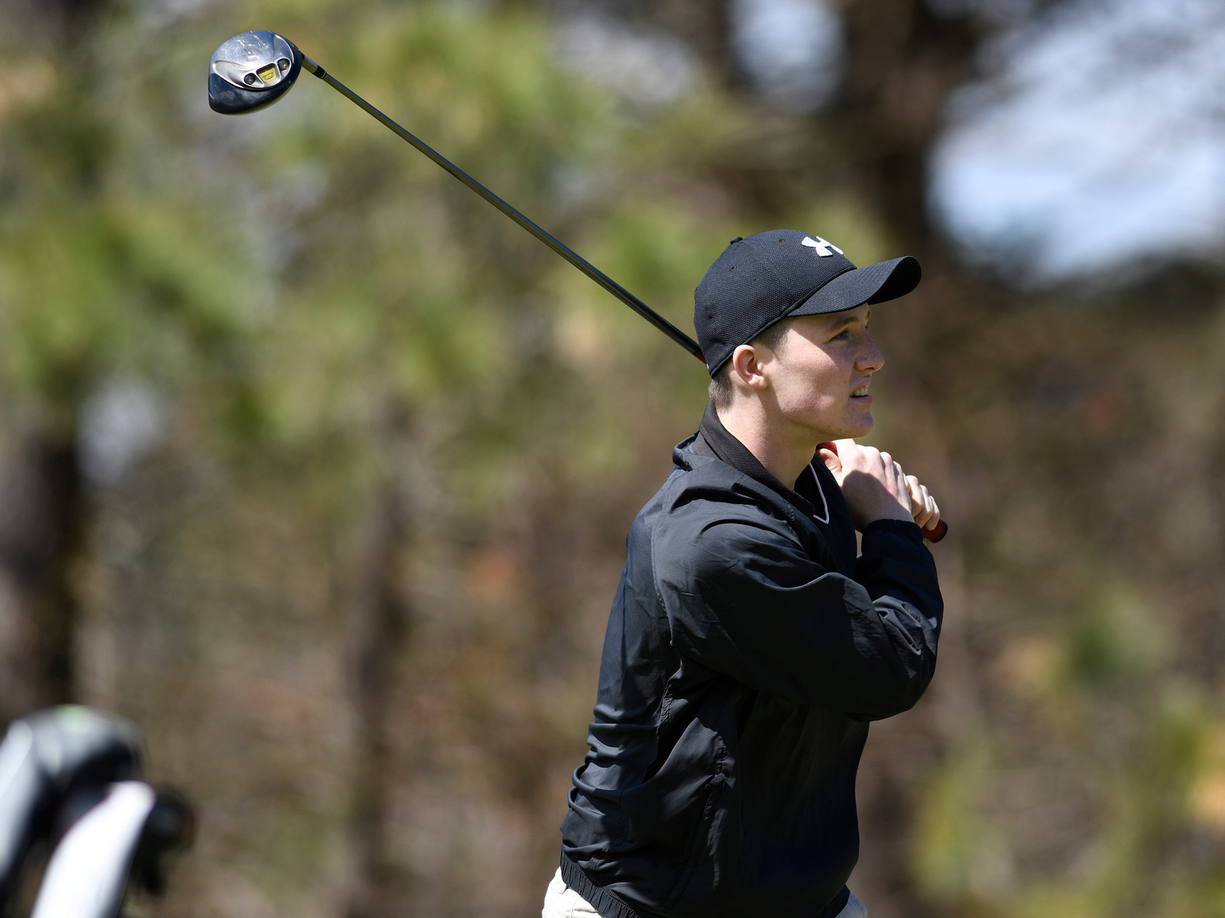 Kyle Smith of Barnegat High School competes at the Ocean County Tournament on April 15, 2019,  at Sea Oaks in Little Egg Harbor. Toms River North's Connor Bekefi emerged as the individual champion with a 3-over-par 75, four shots better than teammate Leo Kane. Toms River North successfully defended its team title, posting a total of 336, which was 18 shots better than Southern. Brick Memorial finished third.