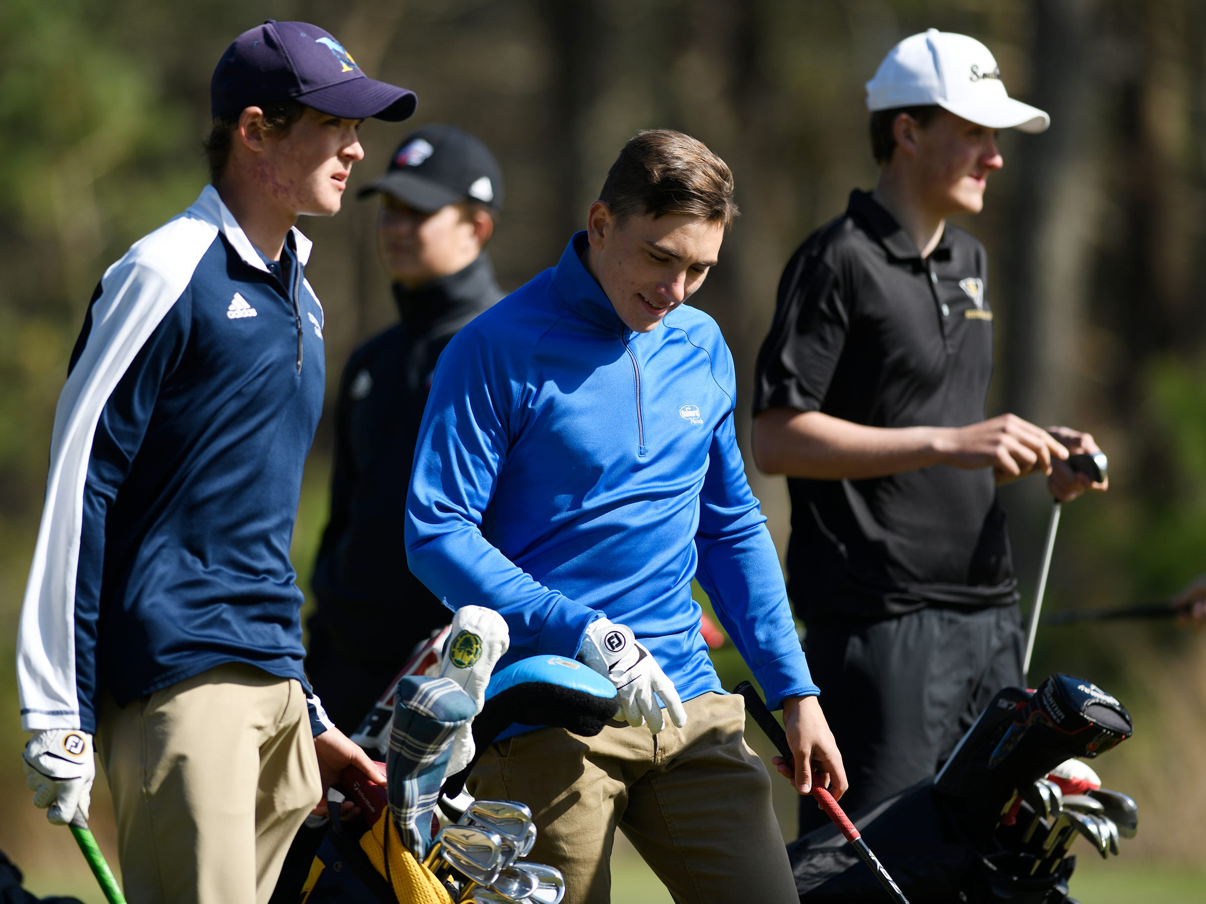 From left to right, Connor Bekefi of Tome River North, Evan Velasquez of Brick Memorial and Lasse Lehmann of Southern Regional compete during the Ocean County Tournament boys event at Sea Oaks Country Club in Little Egg Harbor on Monday, April 15, 2019.