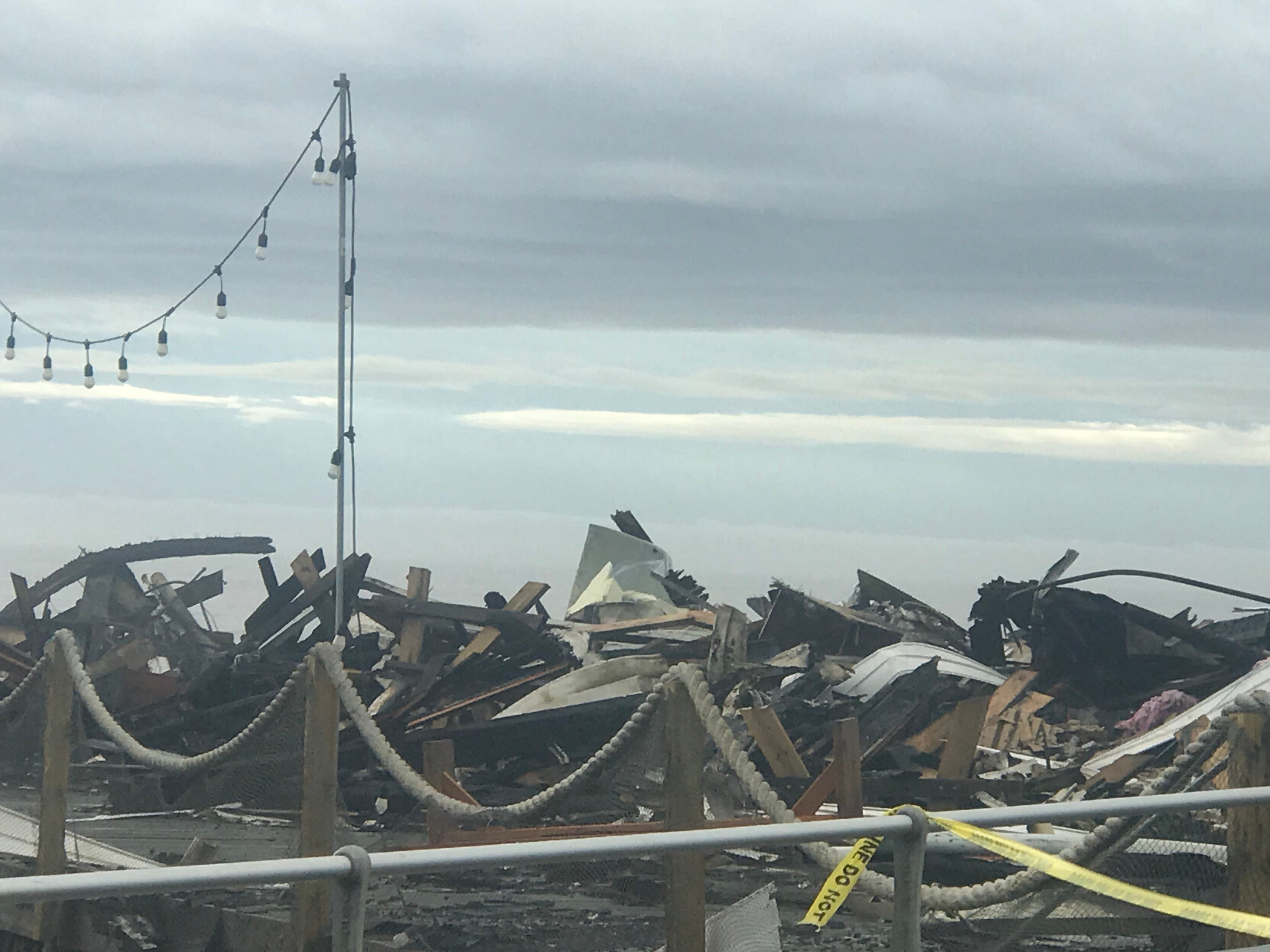 Aftermath of Dunes Boardwalk Cafe fire on the north end of the Ocean Grove boardwalk.